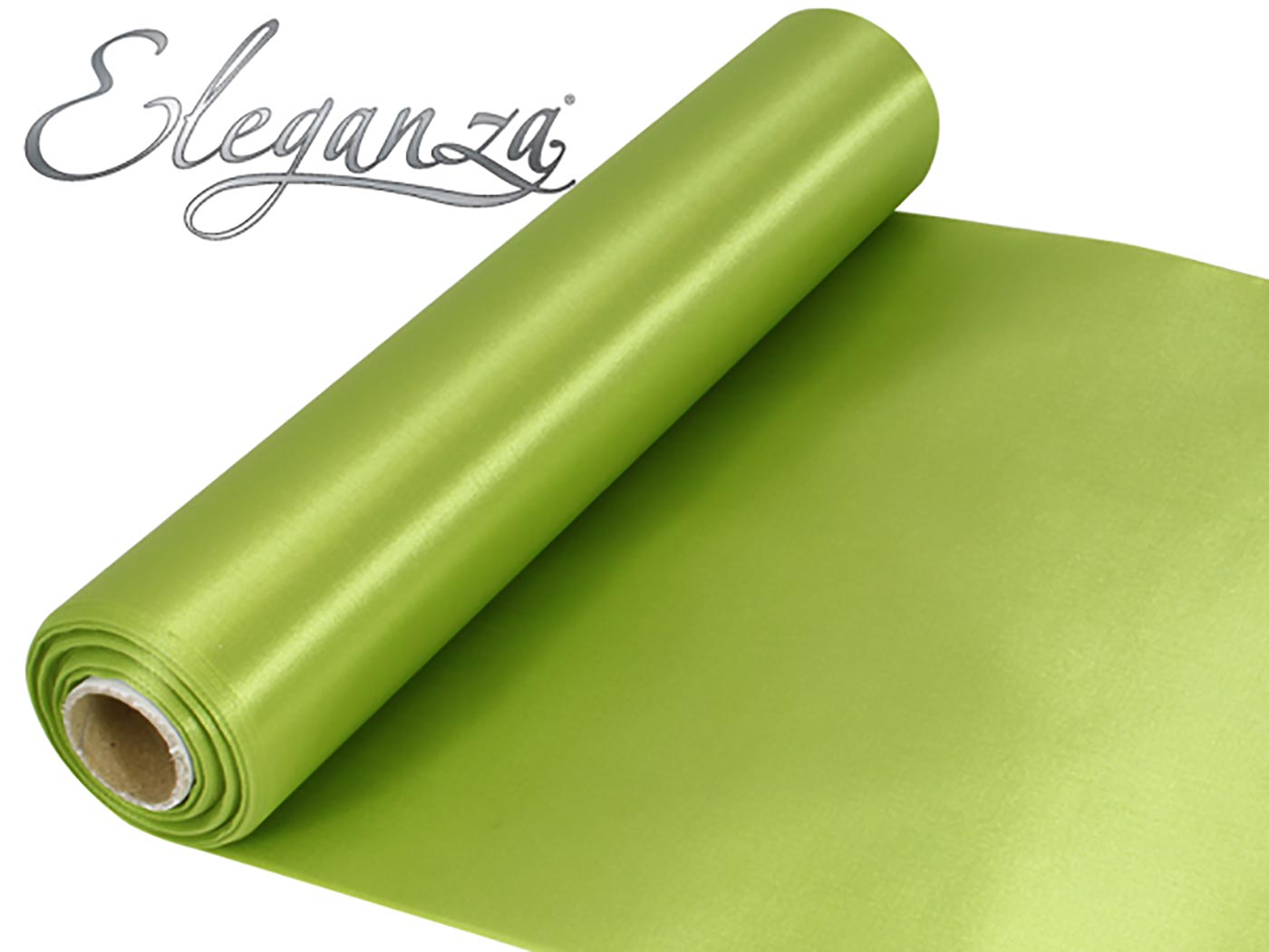 Eleganza Satin Fabric 29cm x 20m Apple Green