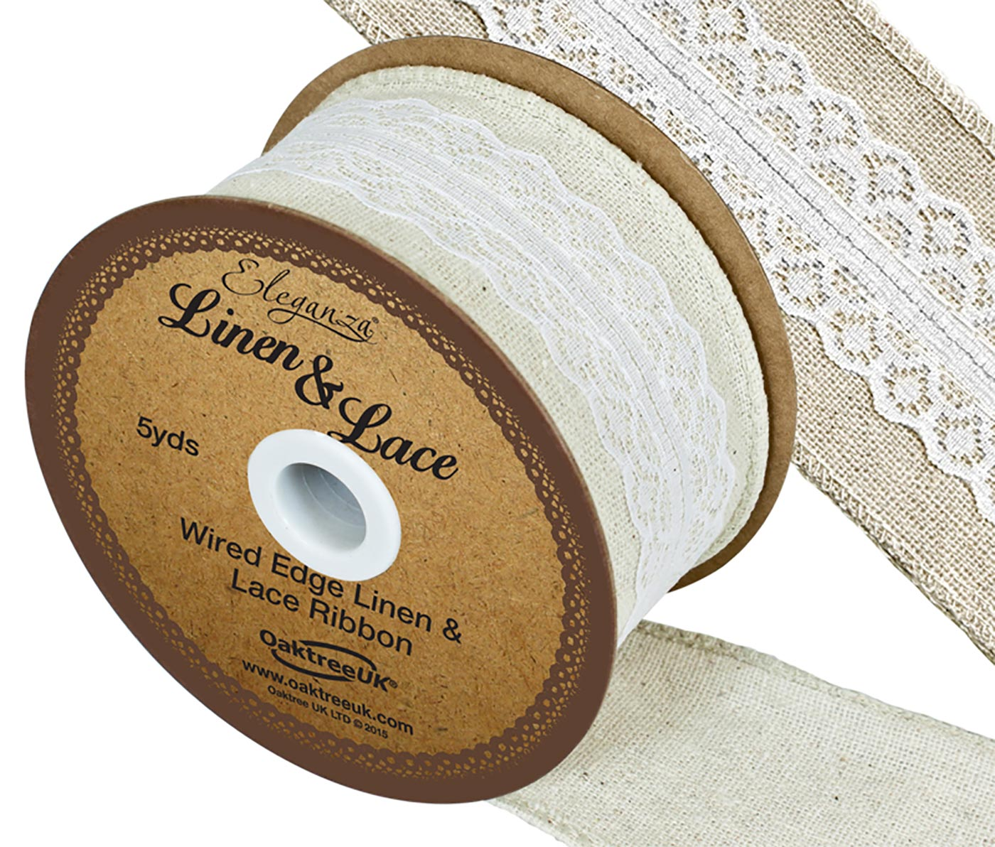 Eleganza Linen & Lace Wired Edge Pattern No.354 50mm x 5yds White
