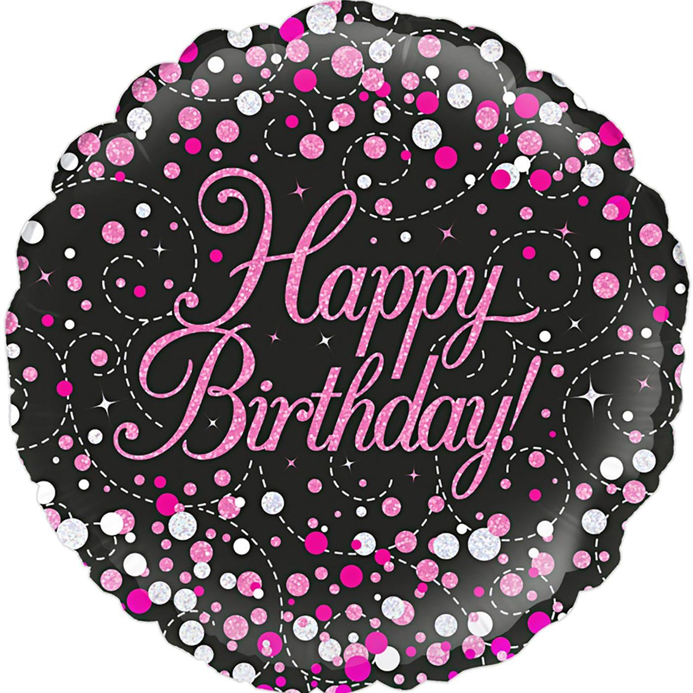 "Oaktree 18"" Sparkling Fizz Birthday Black & Pink Holographic"