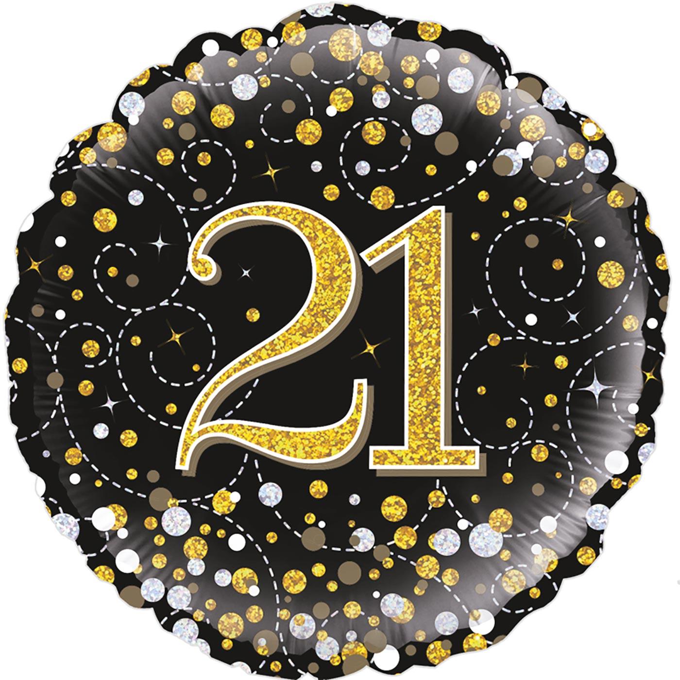 "Oaktree 18"" 21st Sparkling Fizz Birthday Black & Gold Holographic"