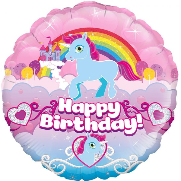"Oaktree 18"" Unicorn Rainbow Birthday Holographic"