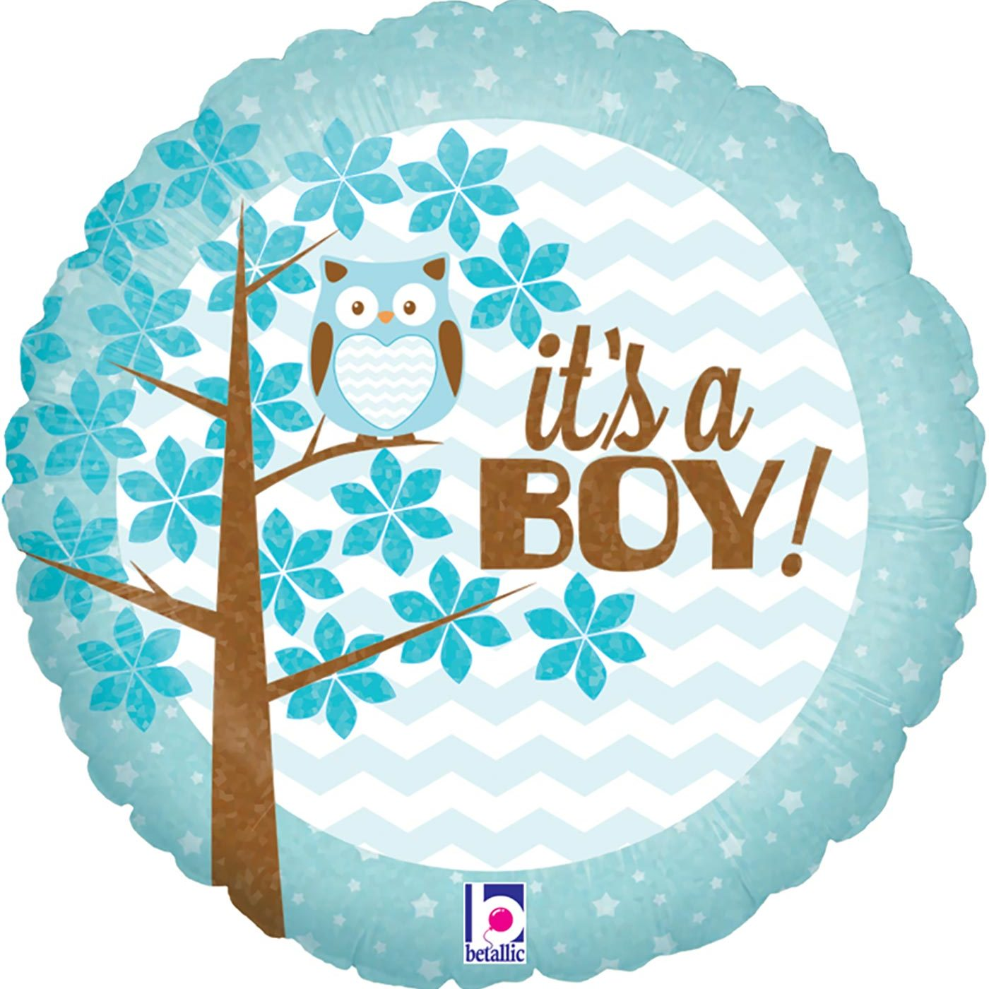 """Betallic 18"""" It's a Boy Baby Owl Holographic"""