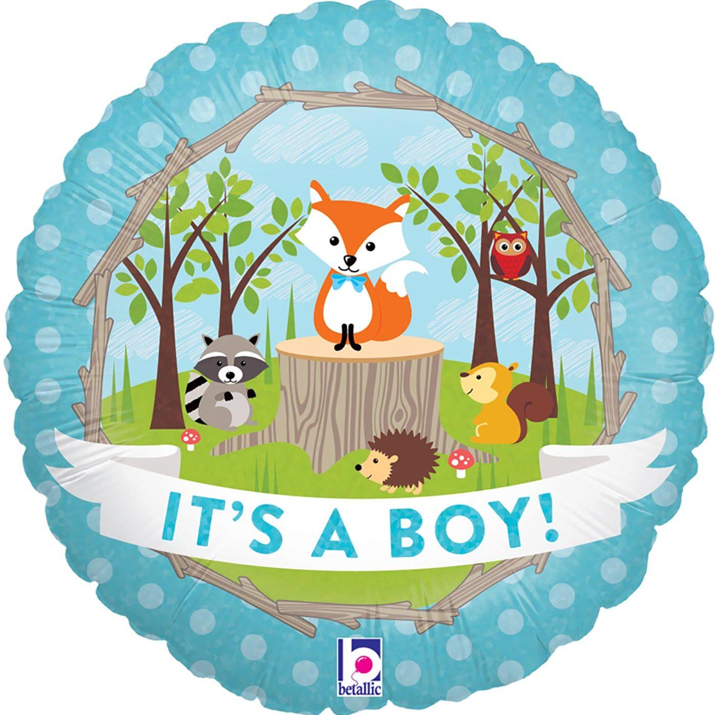 "Betallic 18"" Woodland Baby Boy Holographic"