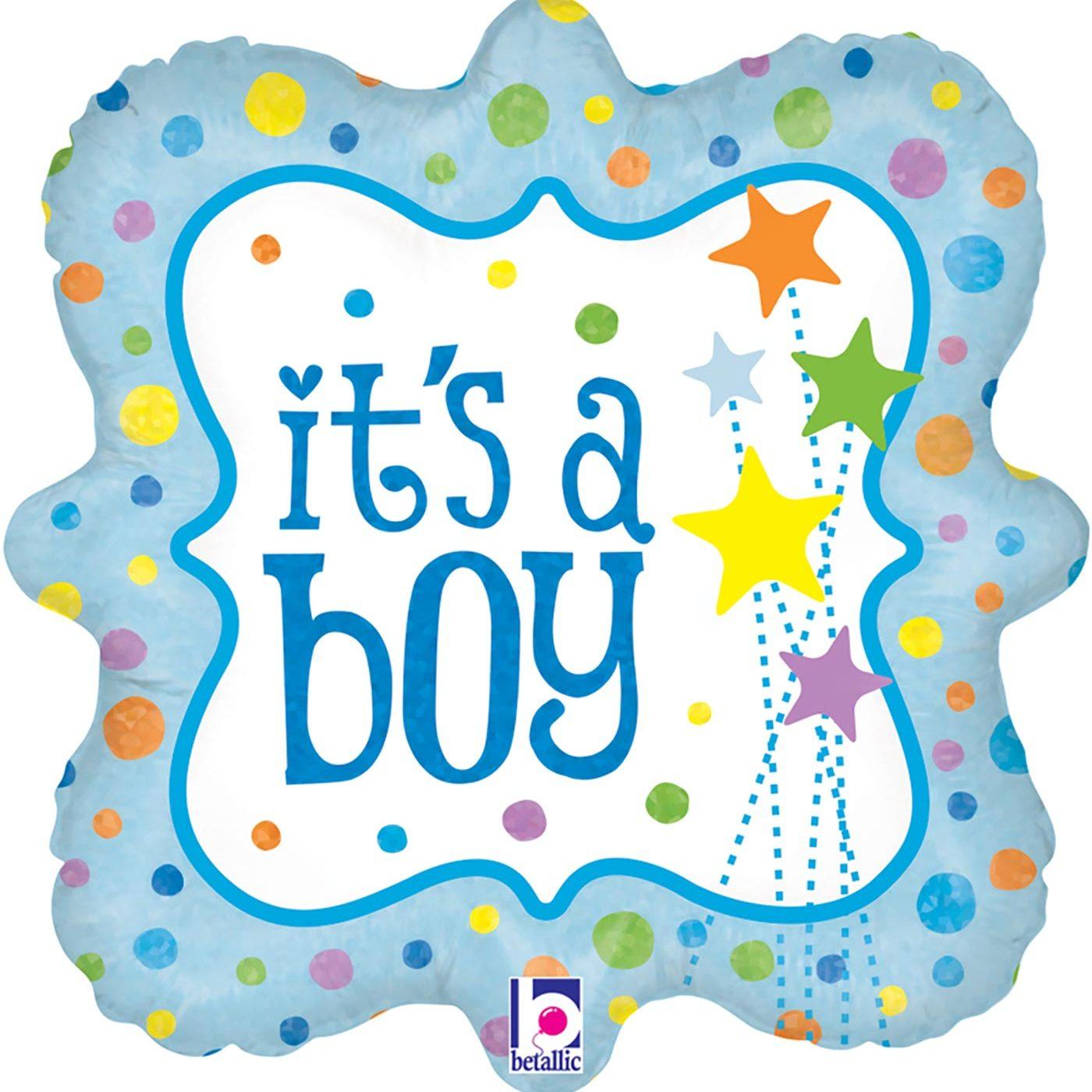 "Betallic 18"" It's a Boy Stars Holographic"