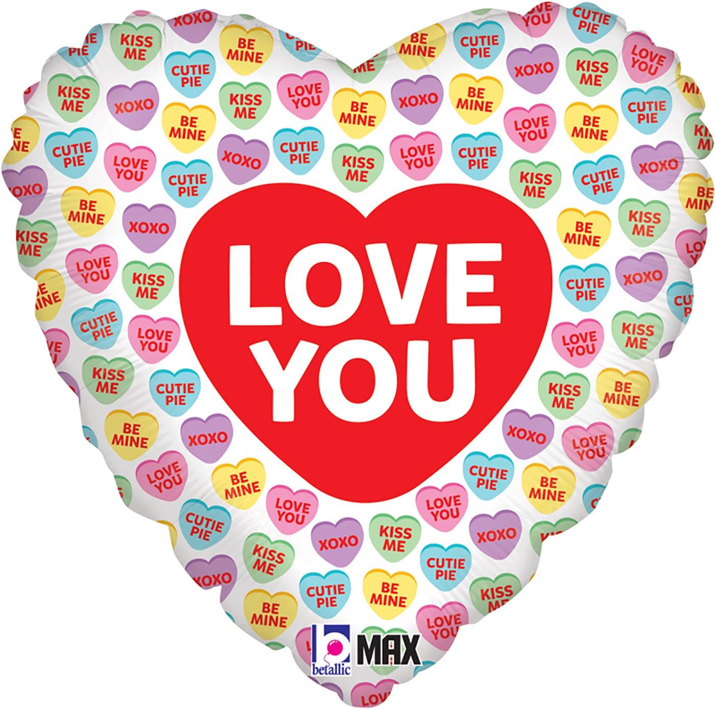 "Betallic 18"" Love You Conversation Hearts Holographic"