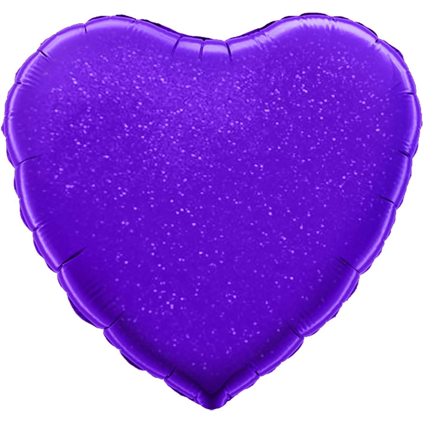 "Oaktree 18"" Purple Holographic Heart"