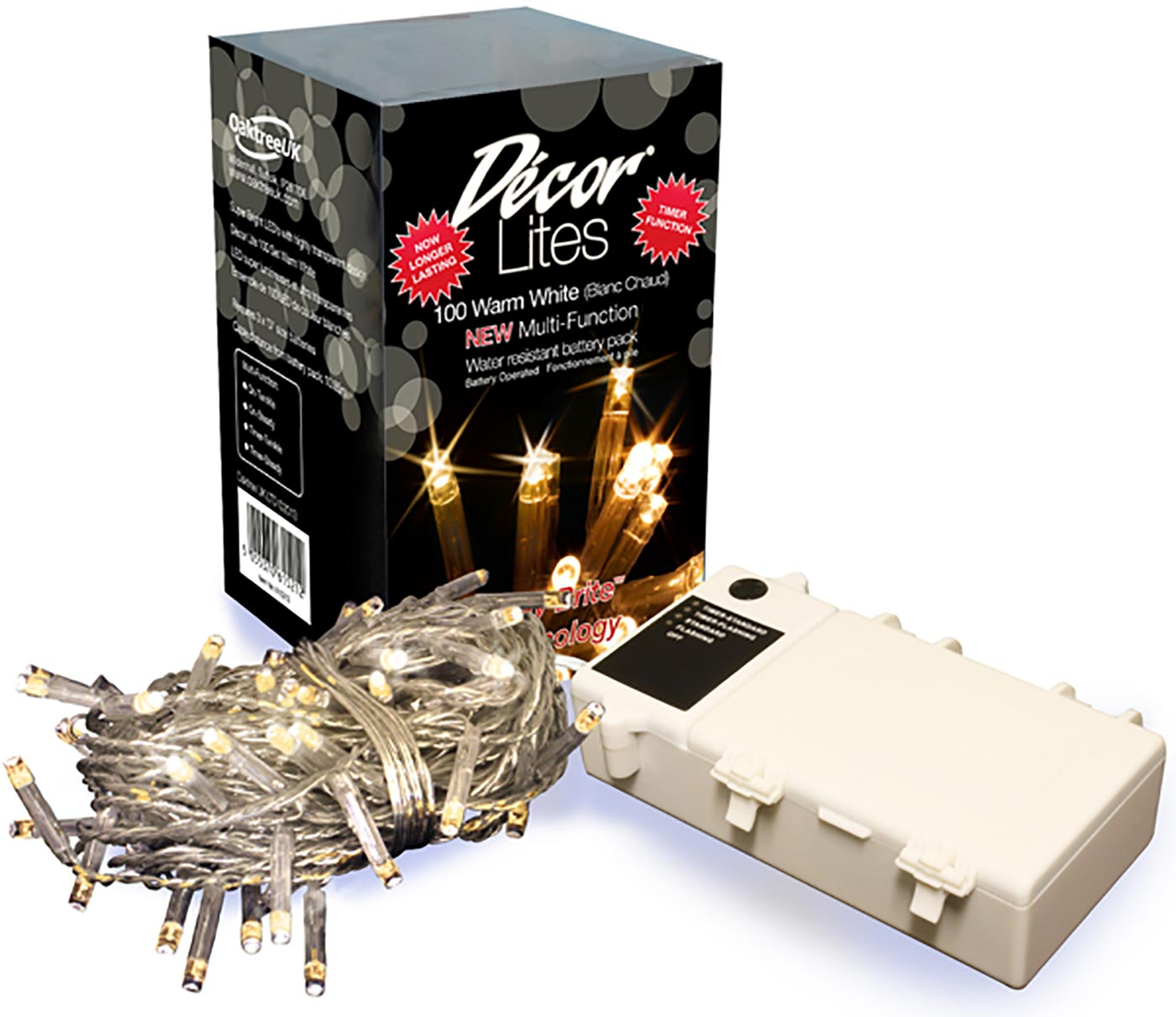 Décor Lites 100 Light Set Warm White 6v Battery