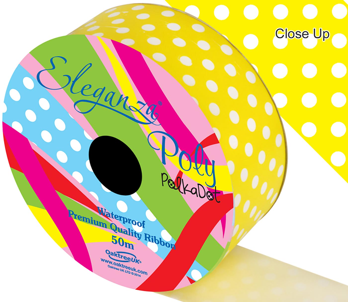 Eleganza Poly 50mm x 50m Polka Dot Yellow