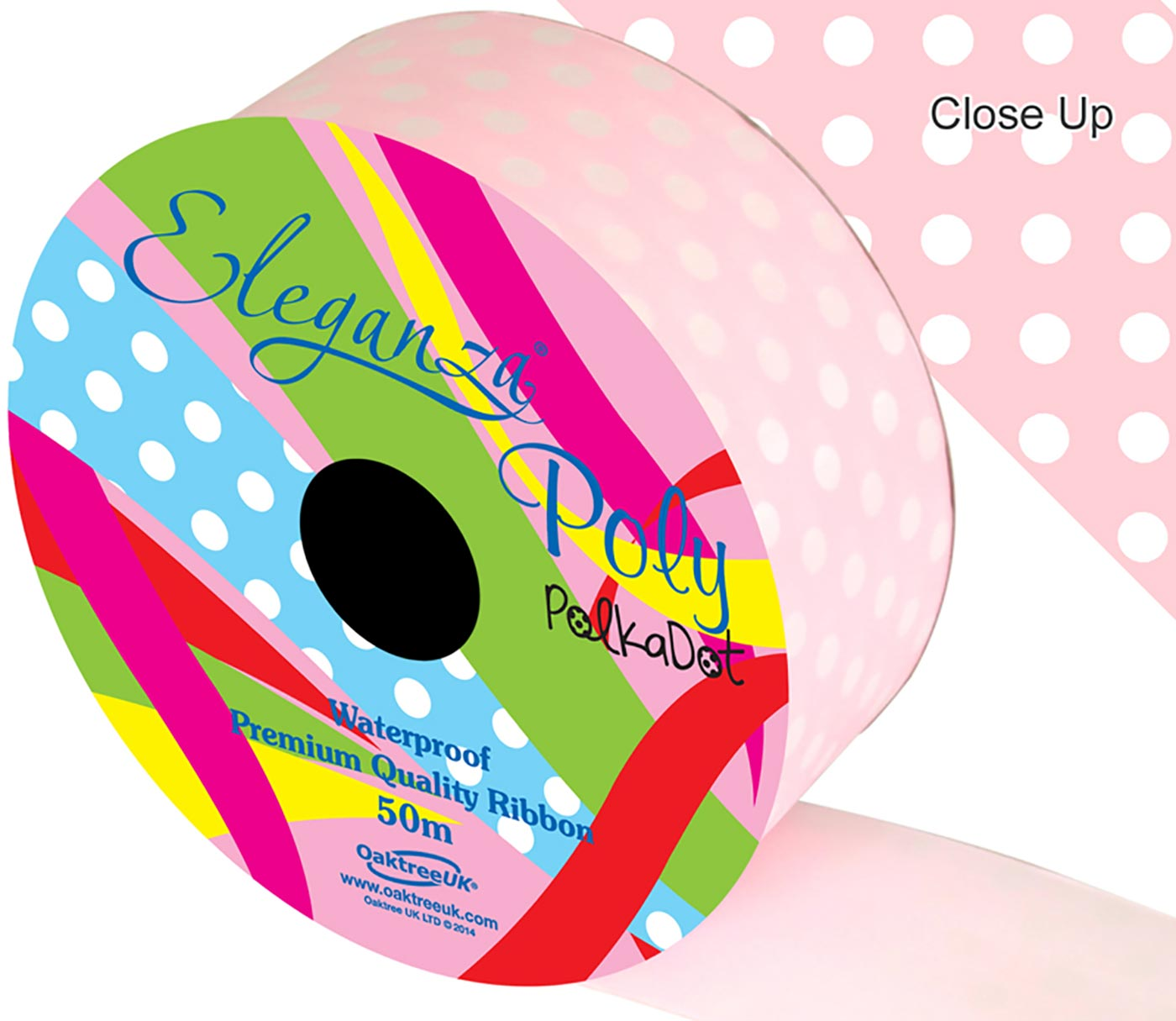 Eleganza Poly 50mm x 50m Polka Dot Lt. Pink