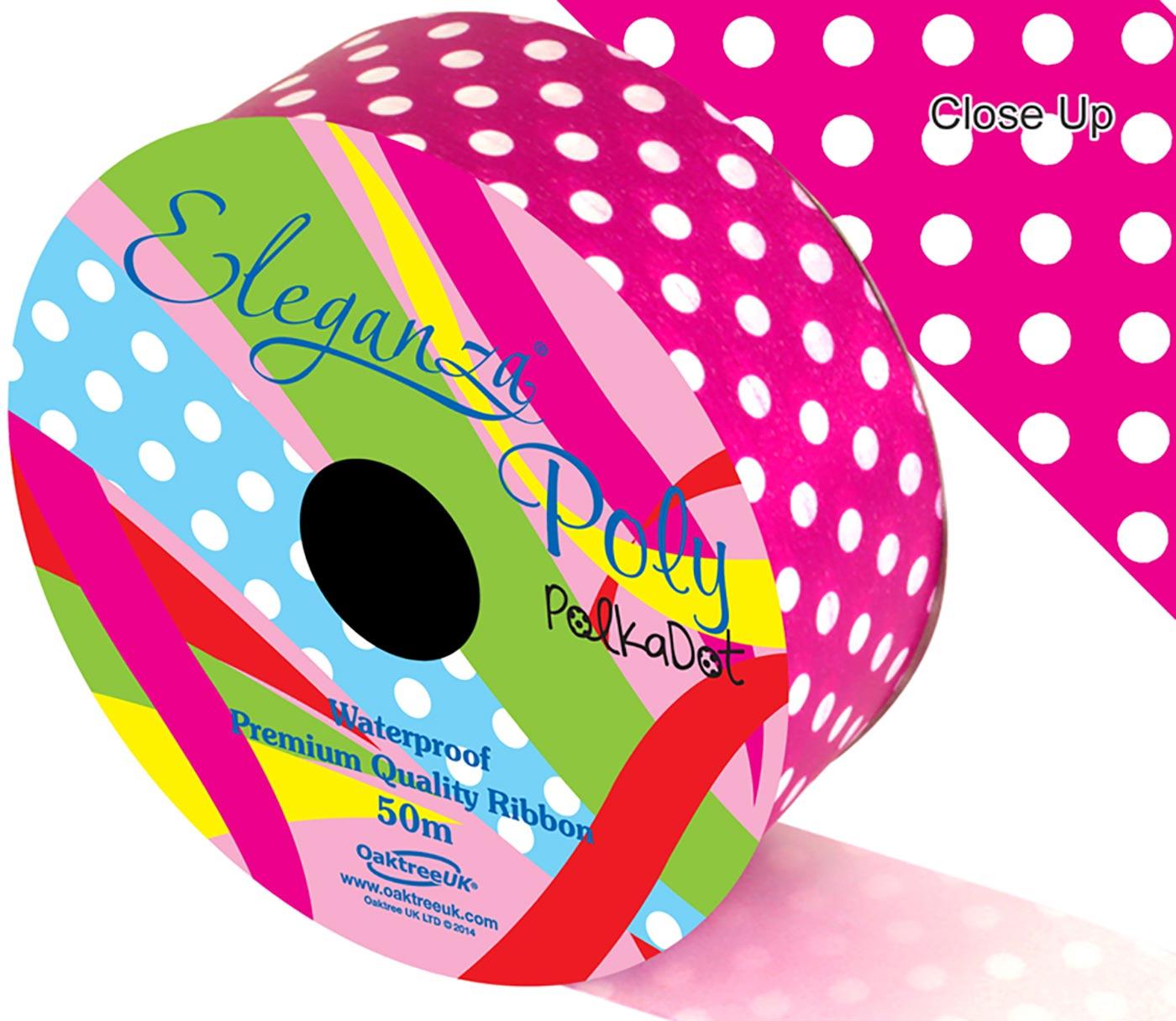 Eleganza Poly 50mm x 50m Polka Dot Fuchsia