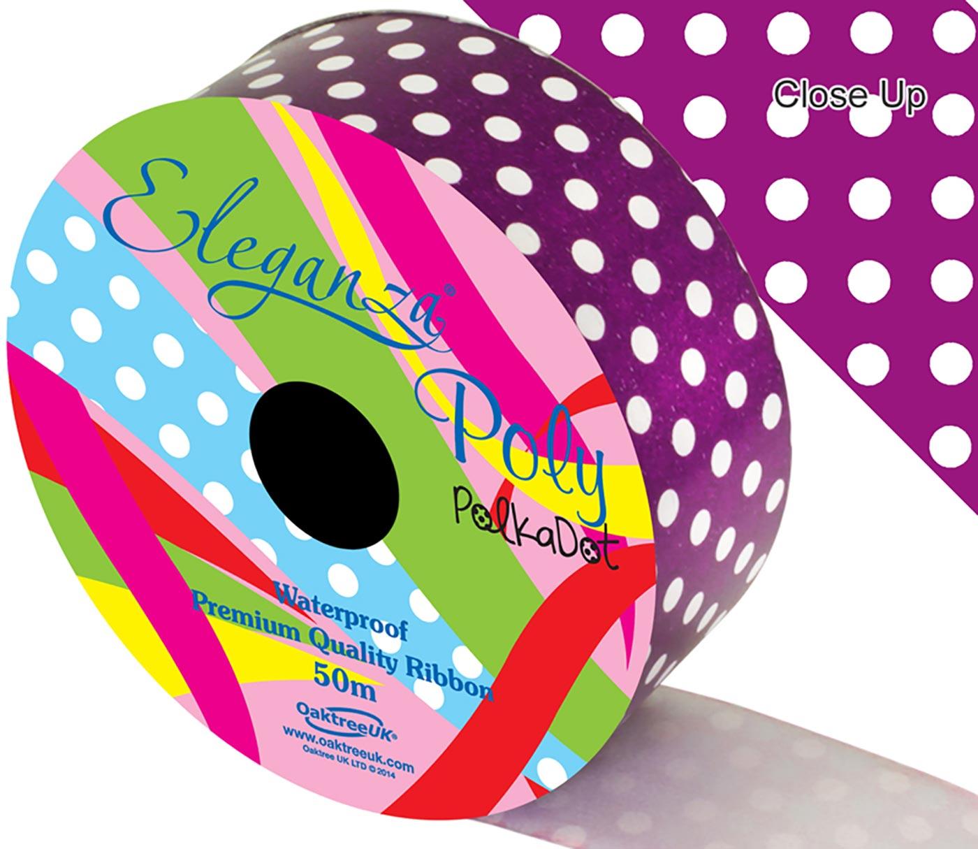 Eleganza Poly 50mm x 50m Polka Dot Purple