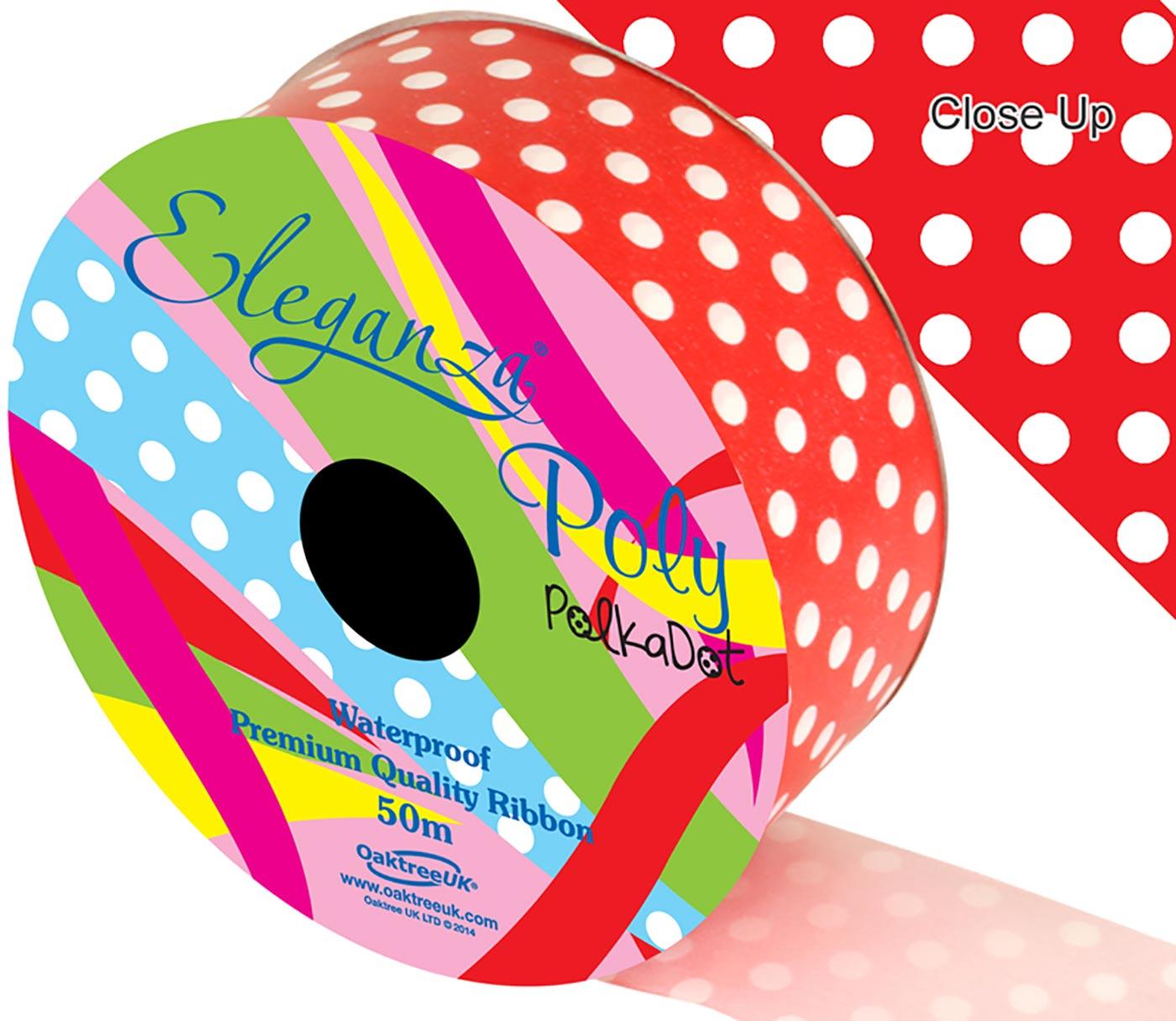 Eleganza Poly 50mm x 50m Polka Dot Red