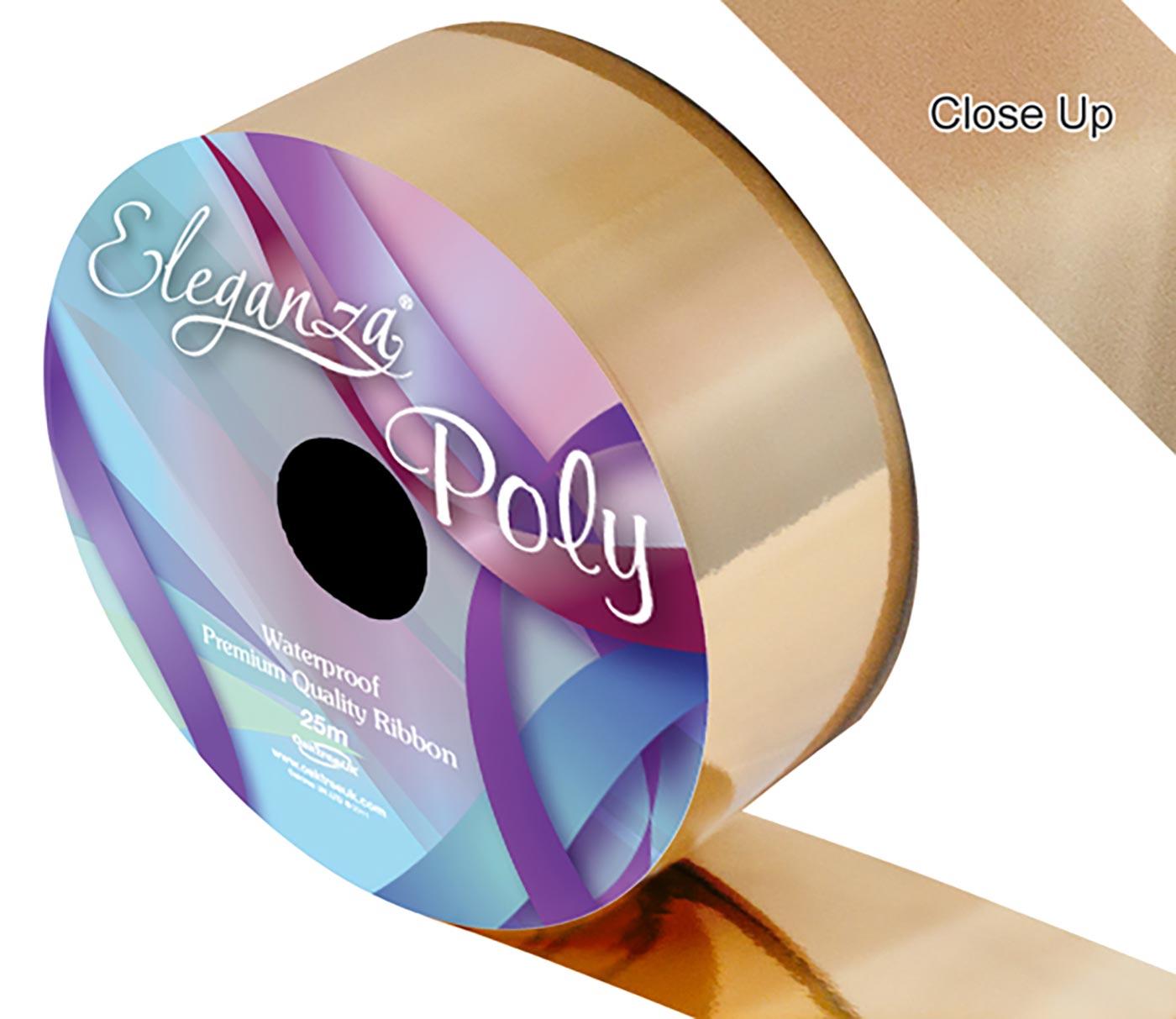 Eleganza Poly Ribbon 50mm x 25m Metallic Gold