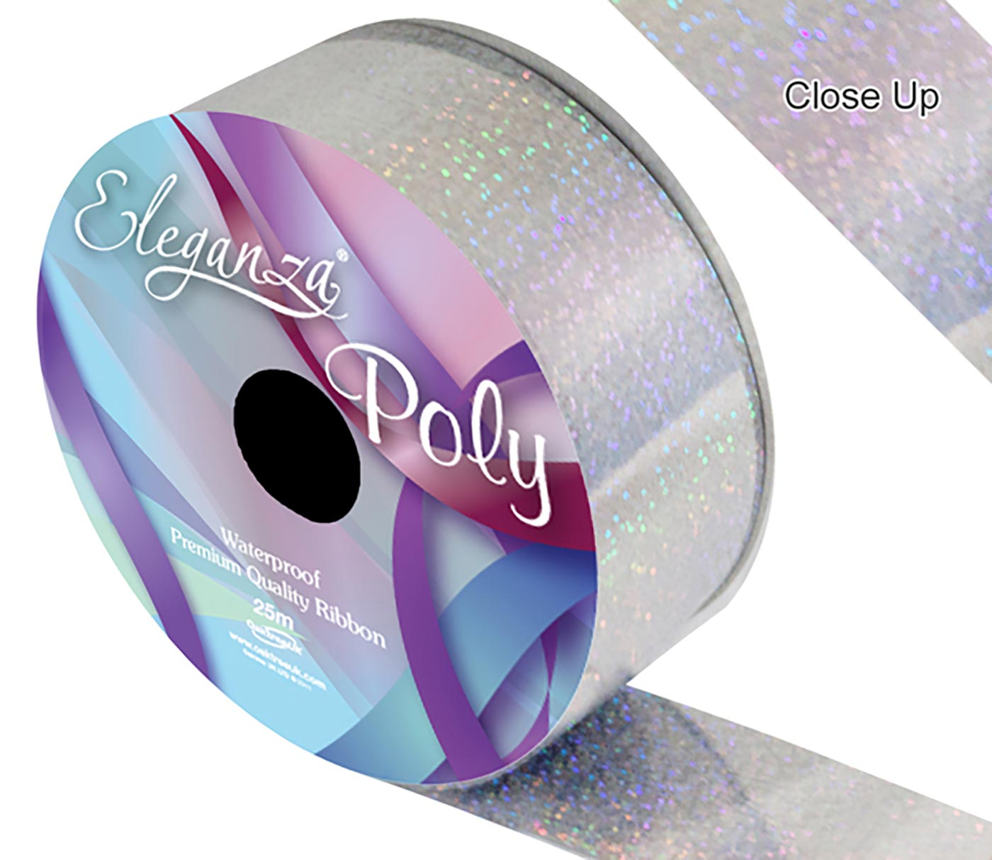 Eleganza Poly Ribbon 50mm x 25m Holographic Silver