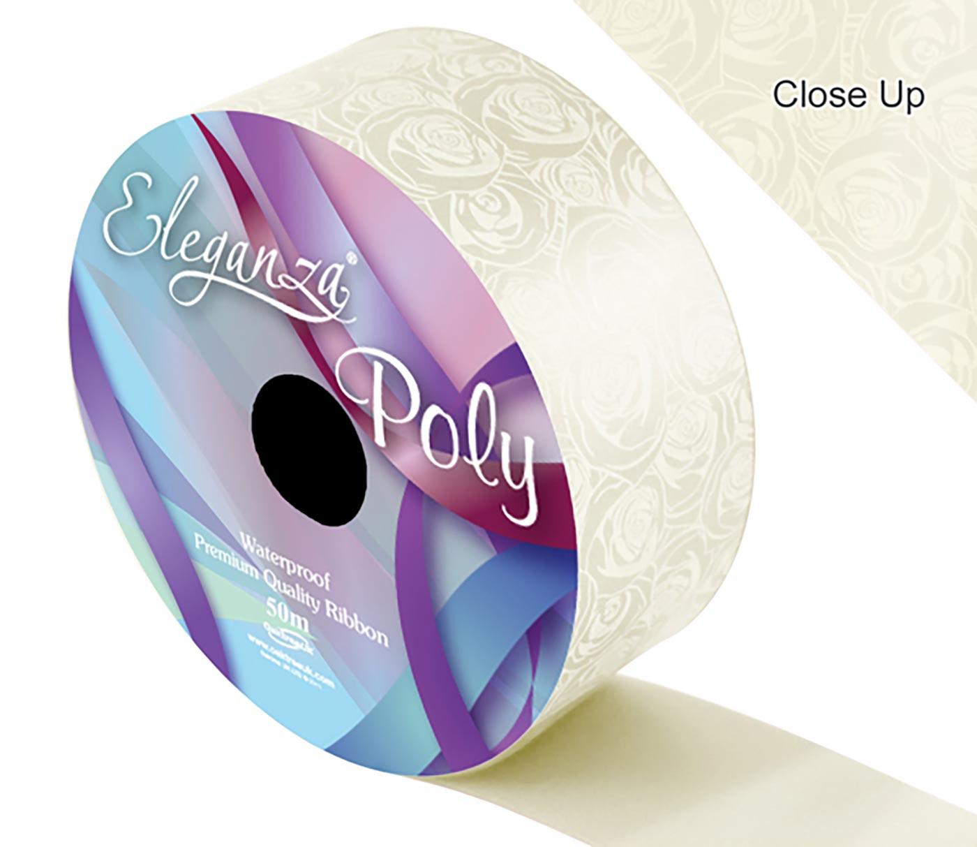 Eleganza Poly 50mm x 50m Elegant rose Print Ivory