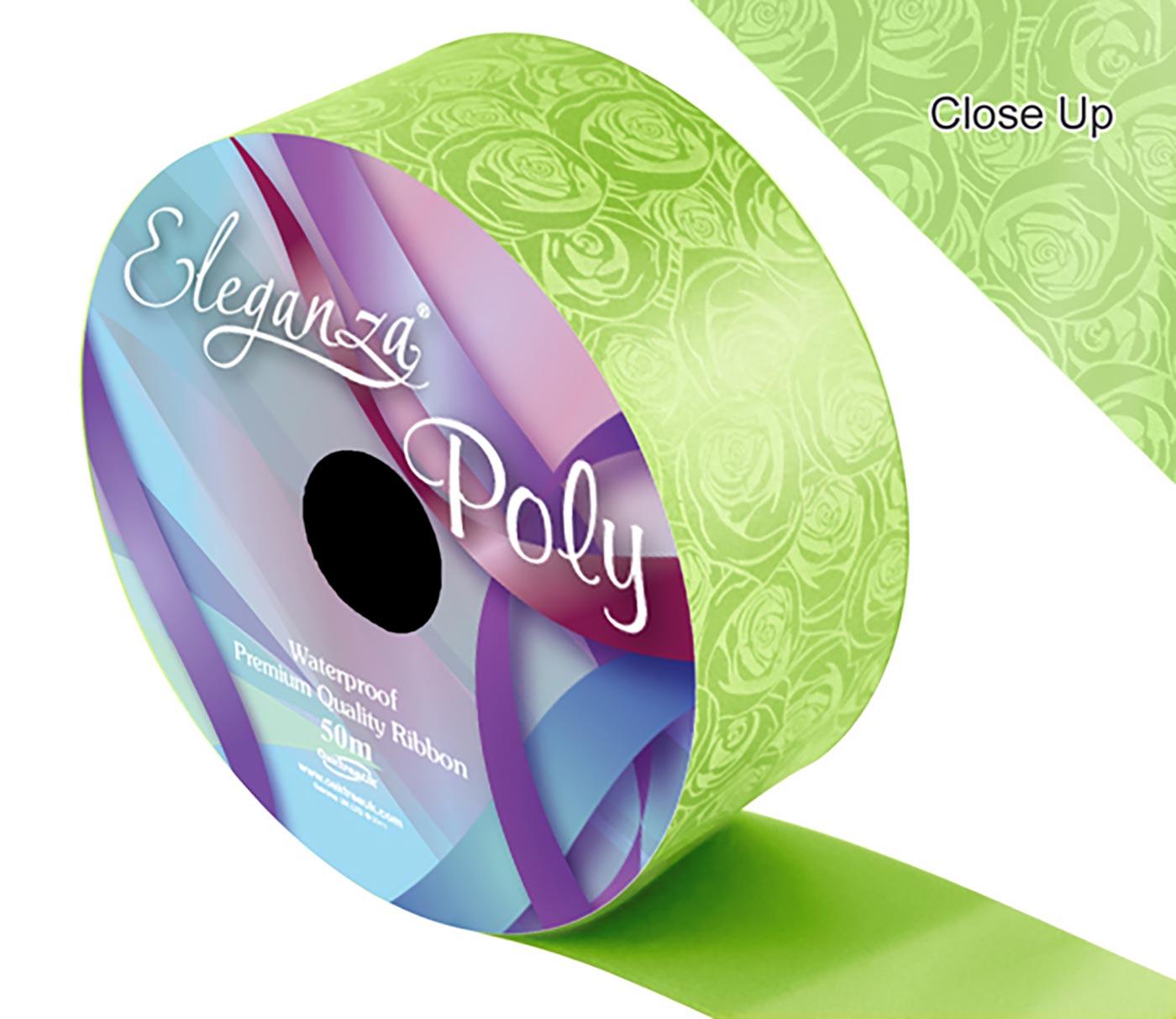 Eleganza Poly 50mm x 50m Elegant rose Print Lime Green