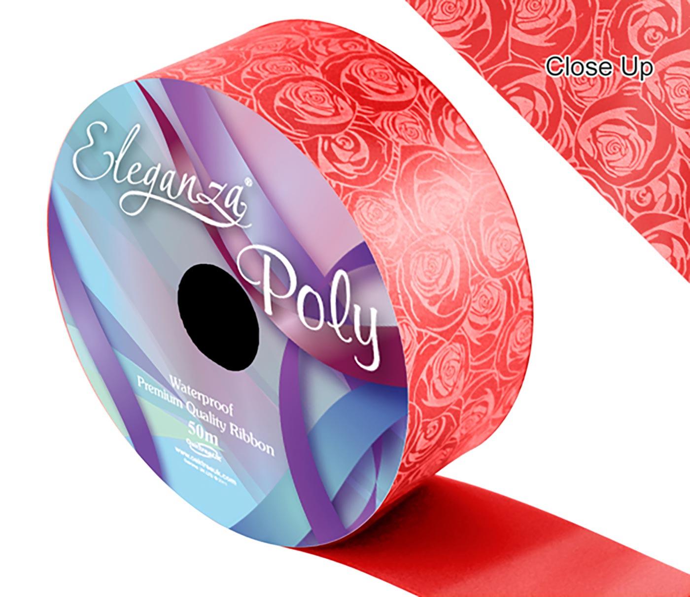 Eleganza Poly 50mm x 50m Elegant rose Print Red