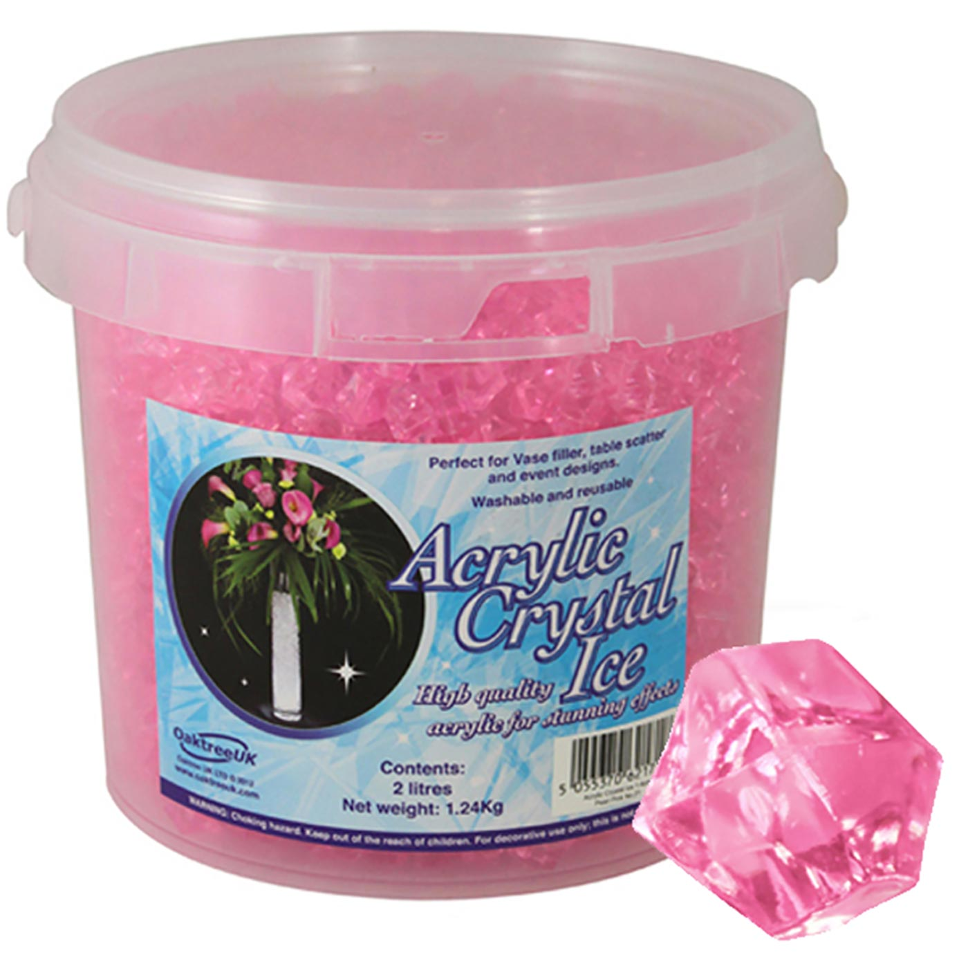 Acrylic Crystal Ice 1.4cm 2ltr 1.24Kg Pearl Pink