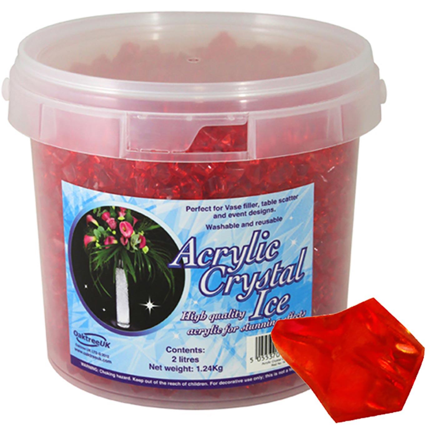 Acrylic Crystal Ice 1.4cm 2ltr 1.24Kg Red