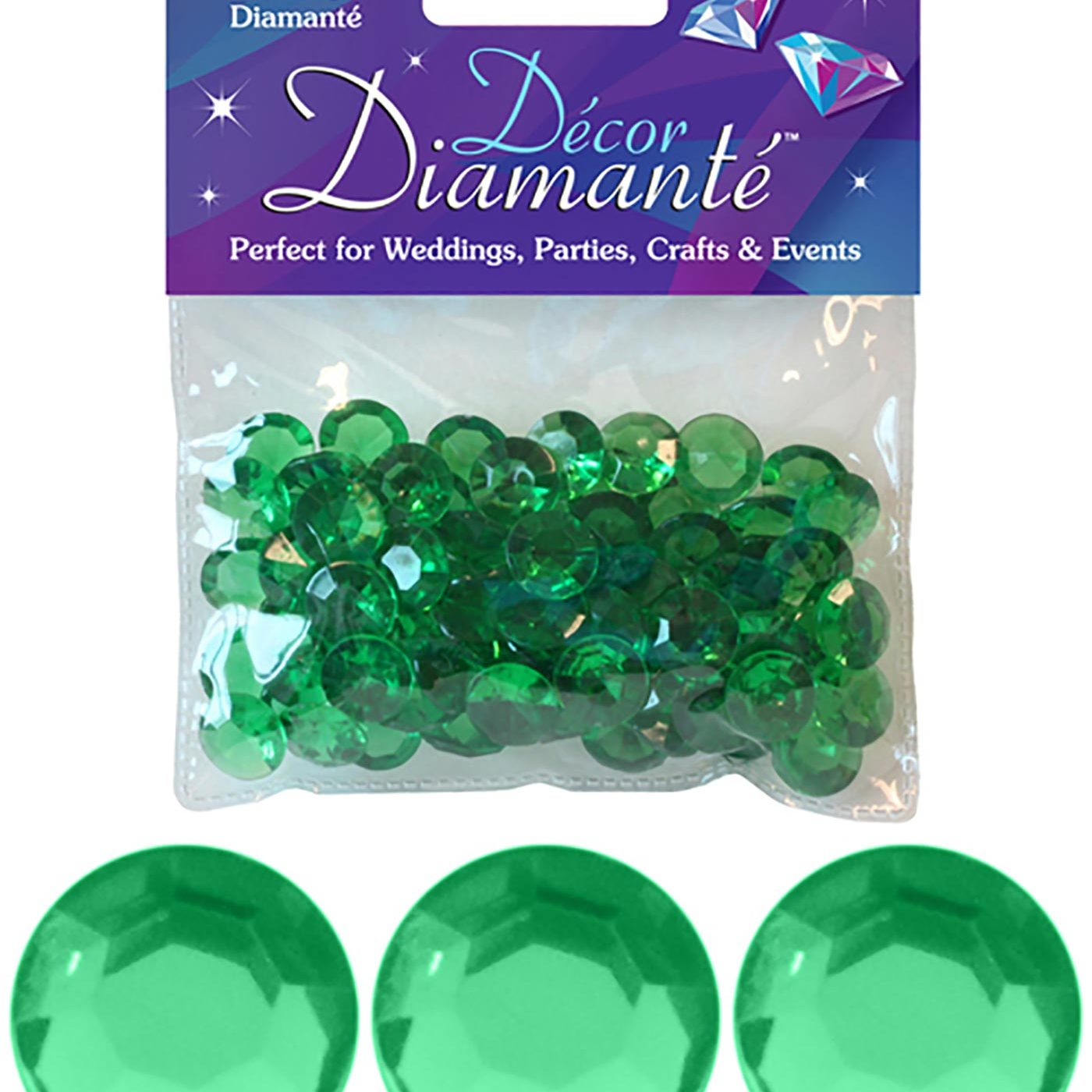 12mm Décor Diamante Diamonds 28g No.15 Emerald