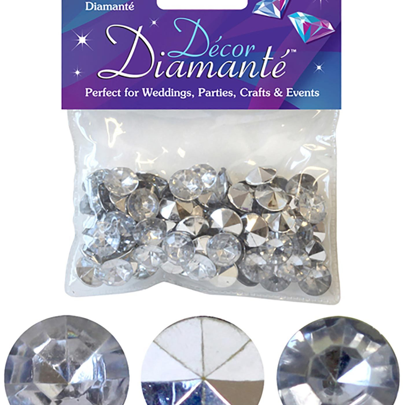 12mm Décor Diamante Diamonds 28g Silver No.24 (clear with mirror back)