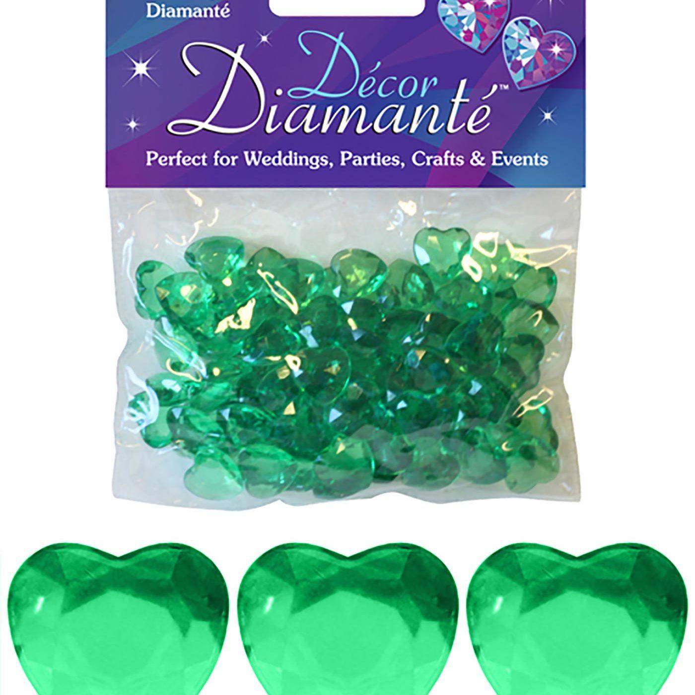 12mm Décor Diamante Double Faced Heart 28g No.15 Emerald