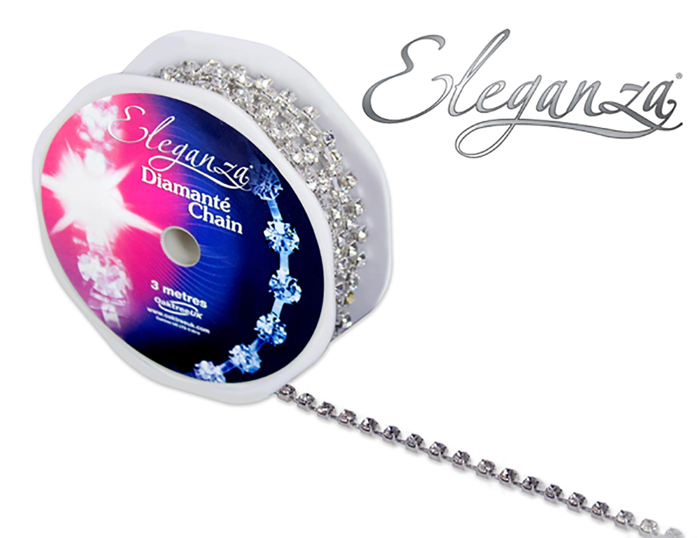 Eleganza Diamante Chain Large 4mm x 3m Silver/Clear
