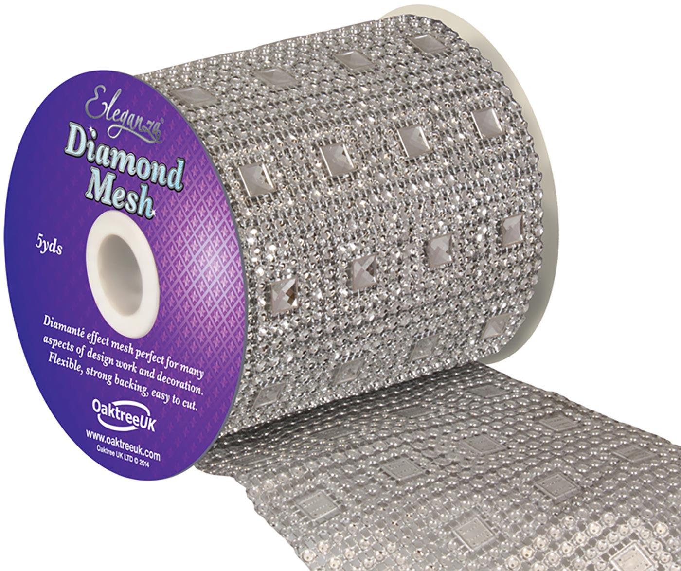 Eleganza Diamond Mesh 11cm x 4.5m Pattern No.351 Silver
