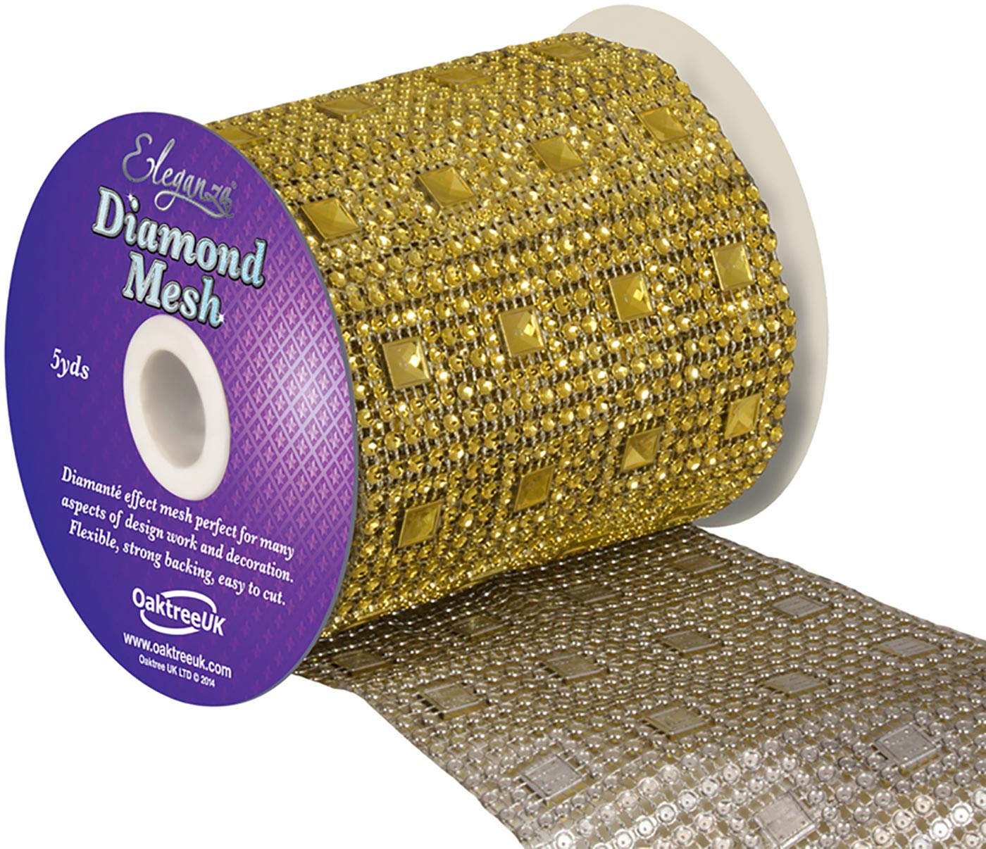 Eleganza Diamond Mesh 11cm x 4.5m Pattern No.351 Gold