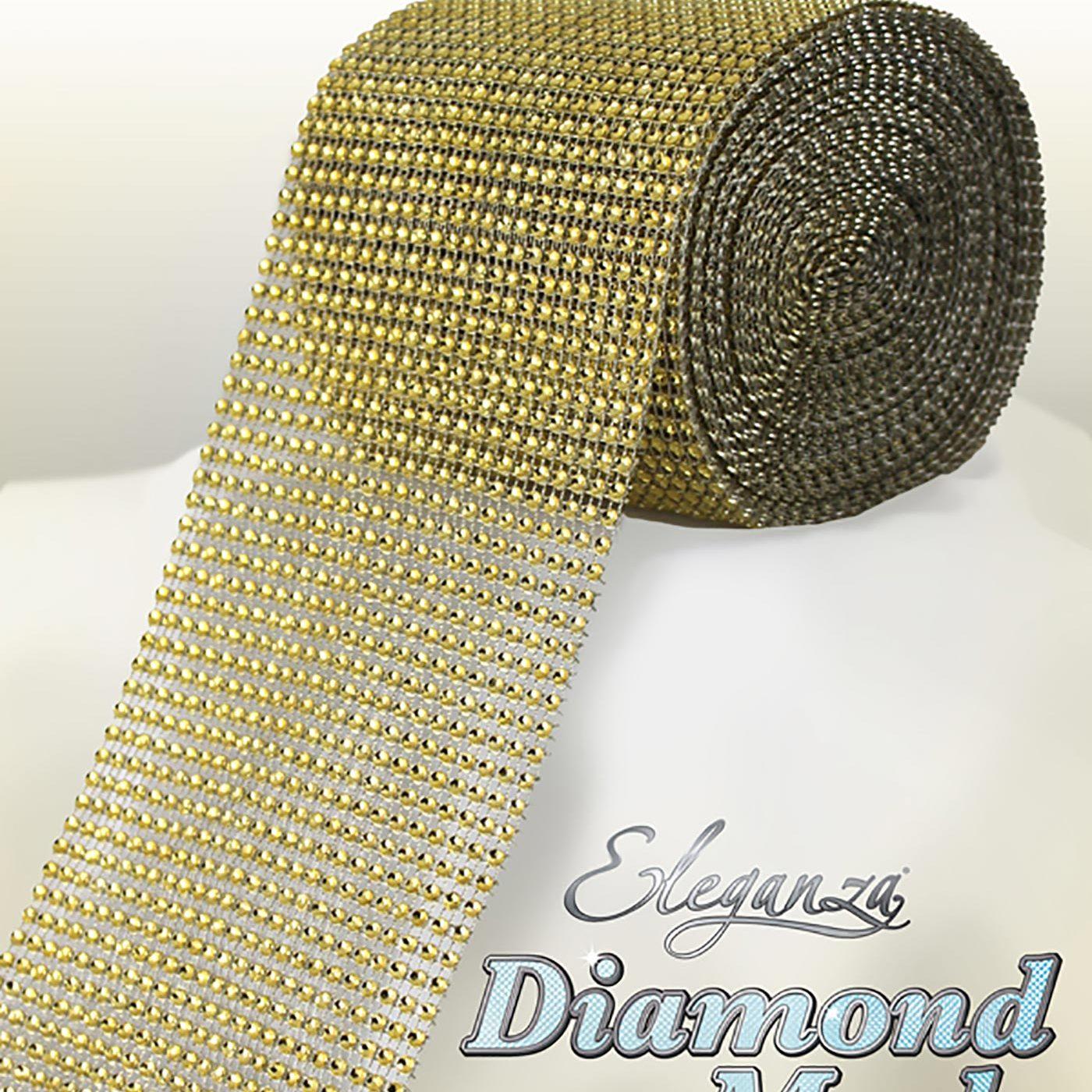 Eleganza Diamond Mesh 12cm x 9m Gold