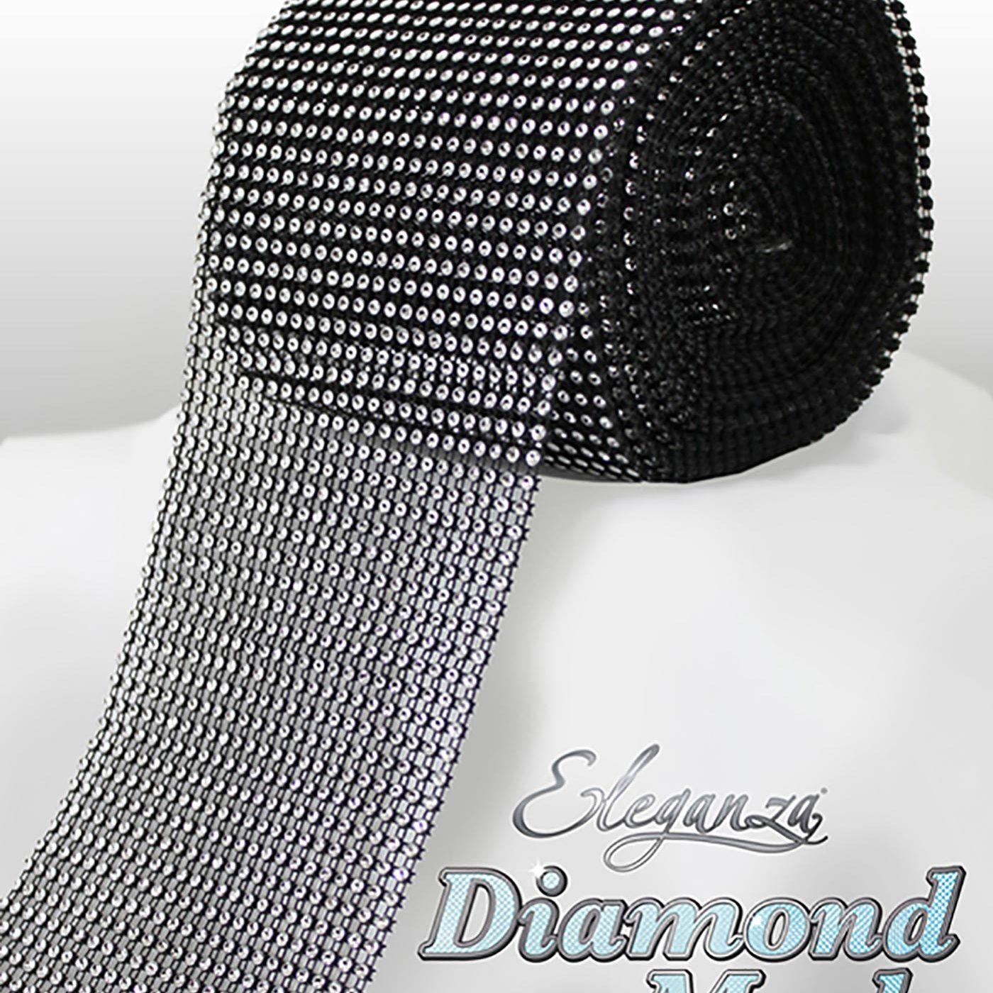 Eleganza Diamond Mesh 12cm x 9m Black/Silver