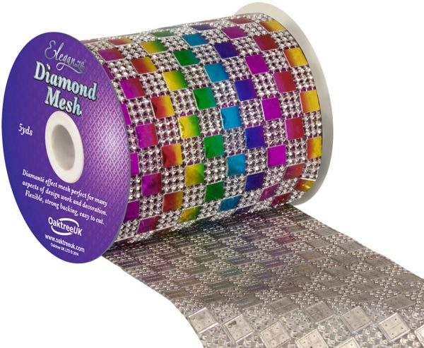 Eleganza Diamond Mesh 11cm x 4.5m Pattern No.350 Rainbow