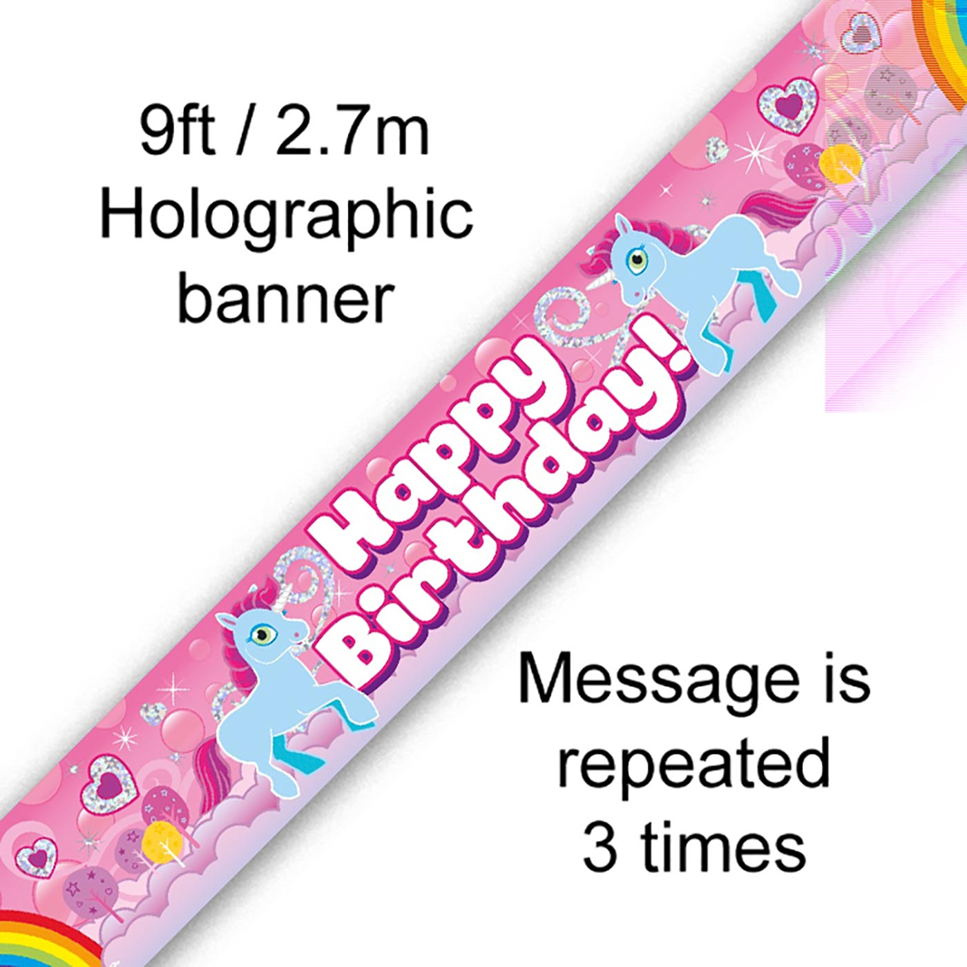 9ft Banner Unicorn Rainbow Birthday Holographic
