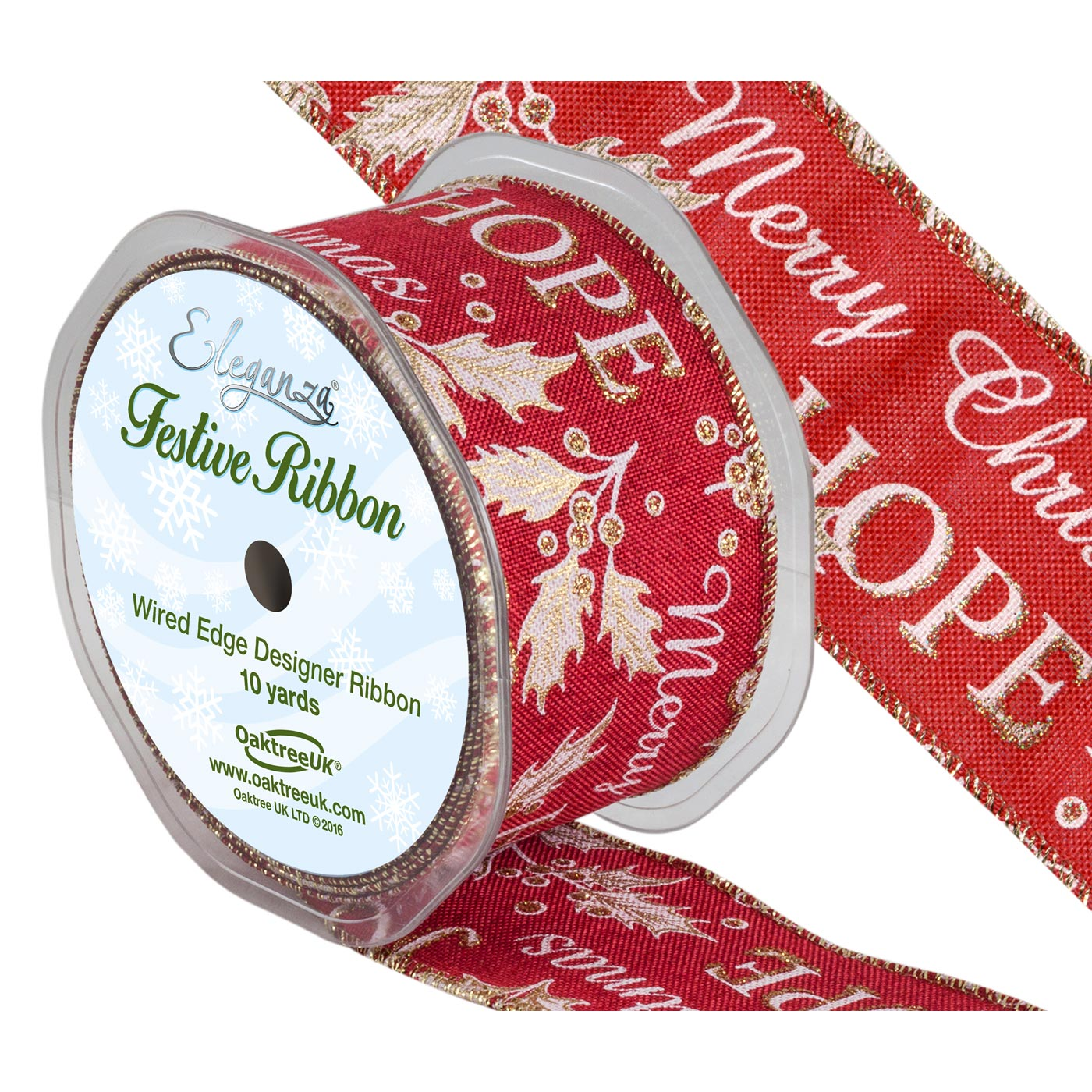 Merry Christmas Red Holly Ribbon
