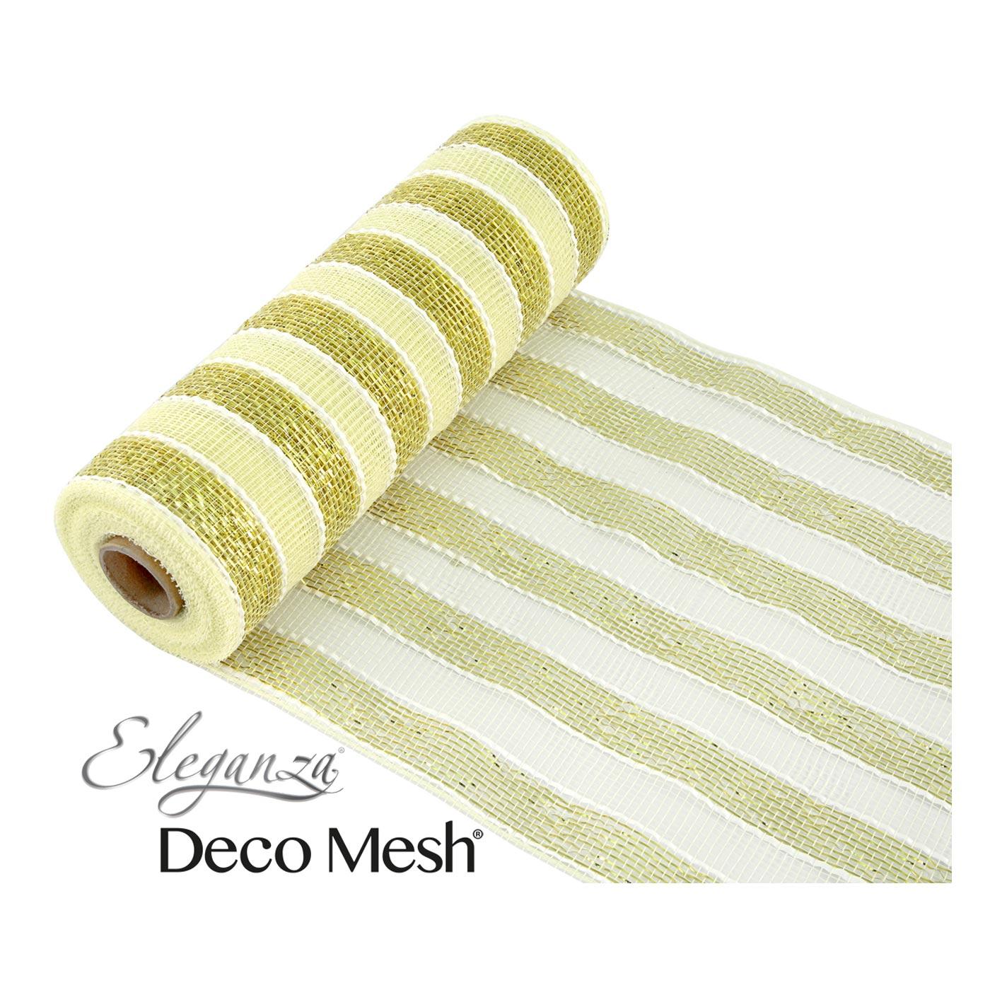 Deco Mesh 25cm Cream Gold Stripe