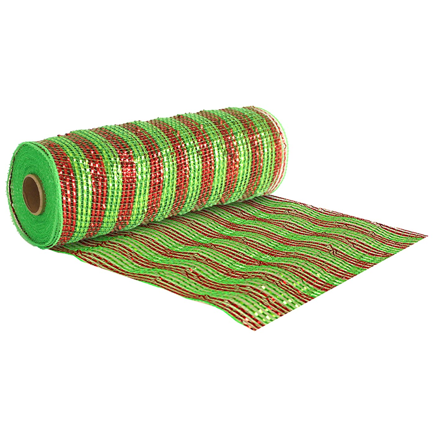 Deco Mesh 25cm Red Green Stripe