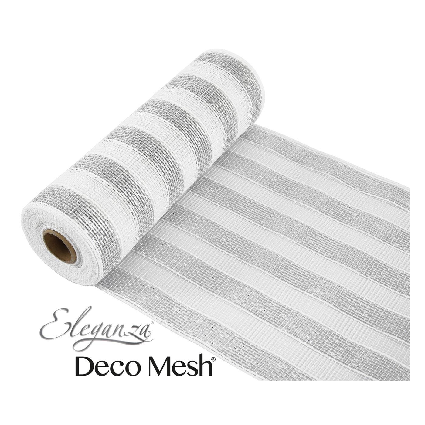 Deco Mesh 25cm Silver White Stripe