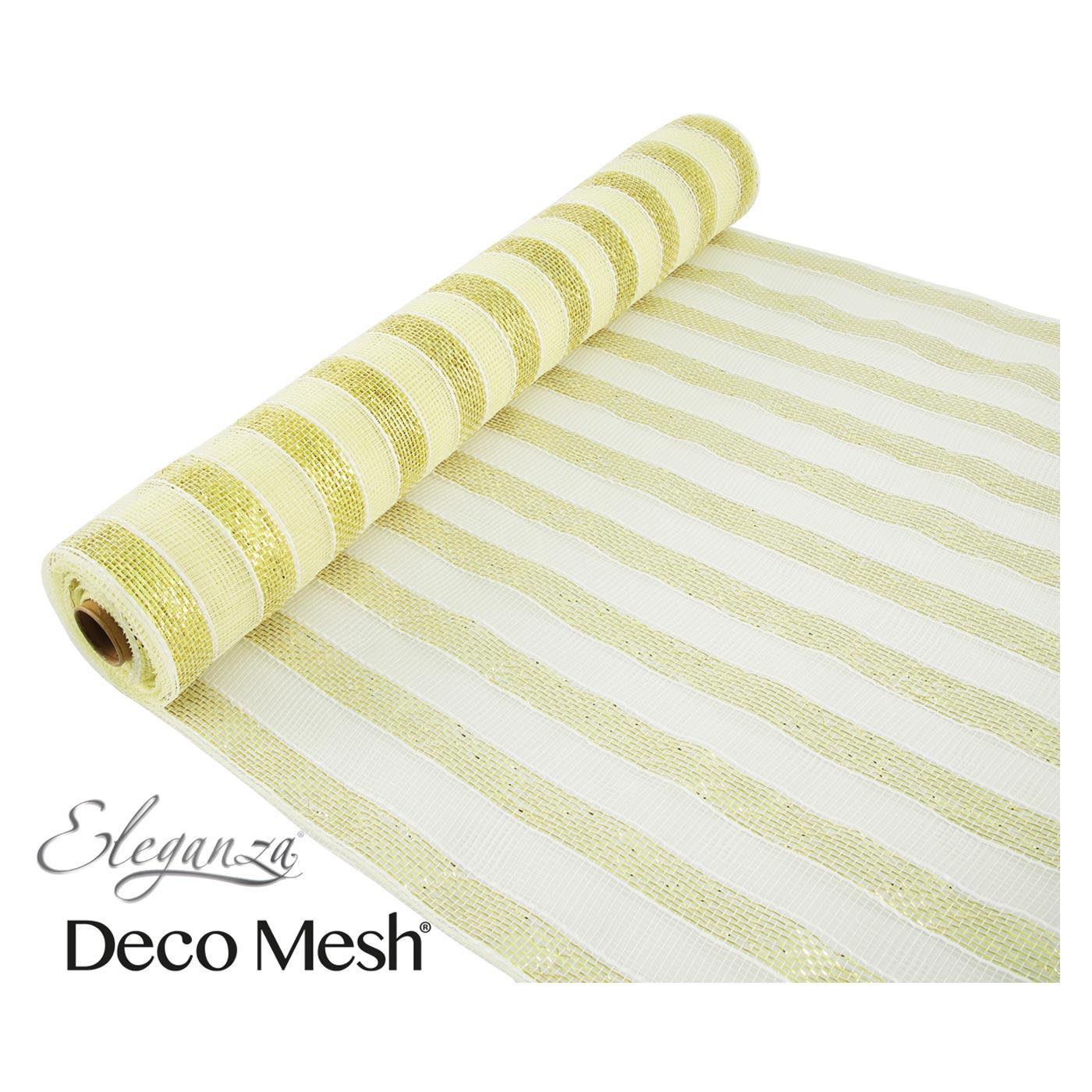 Deco Mesh 53cm Gold Ivory Stripes