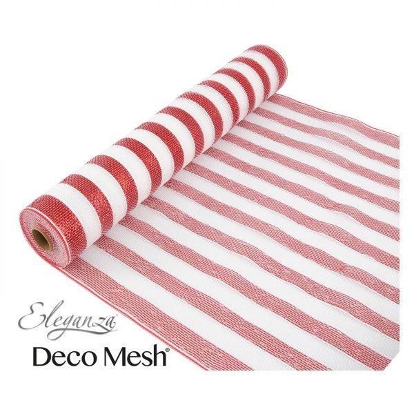 Deco Mesh 53cm Red White Stripe