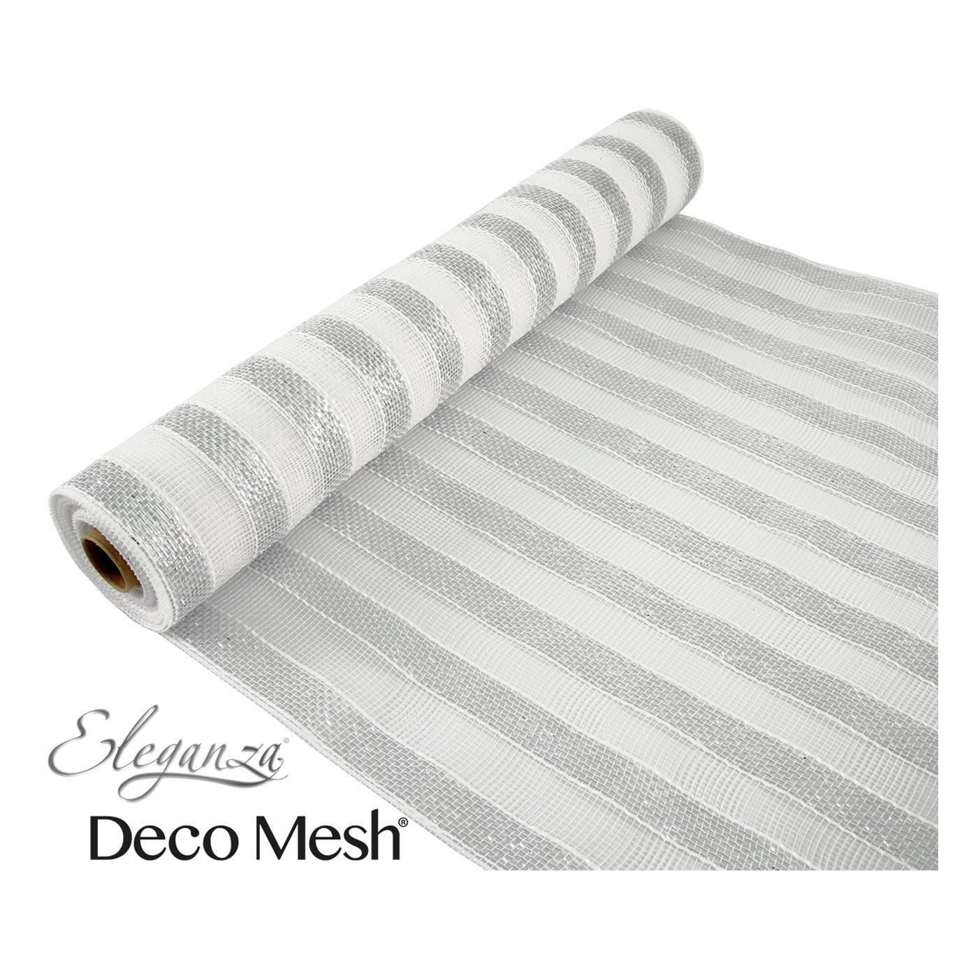 Deco Mesh 53cm Silver White Stripes
