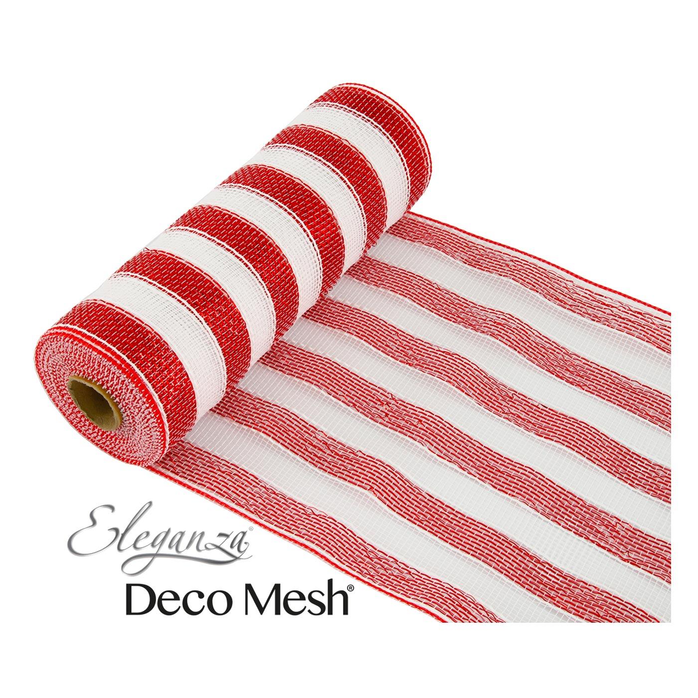 Deco Mesh Red and White Stripe