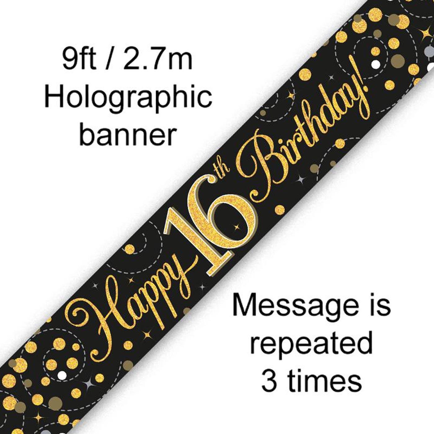 Black Gold Fizz 16th Birthday Banner