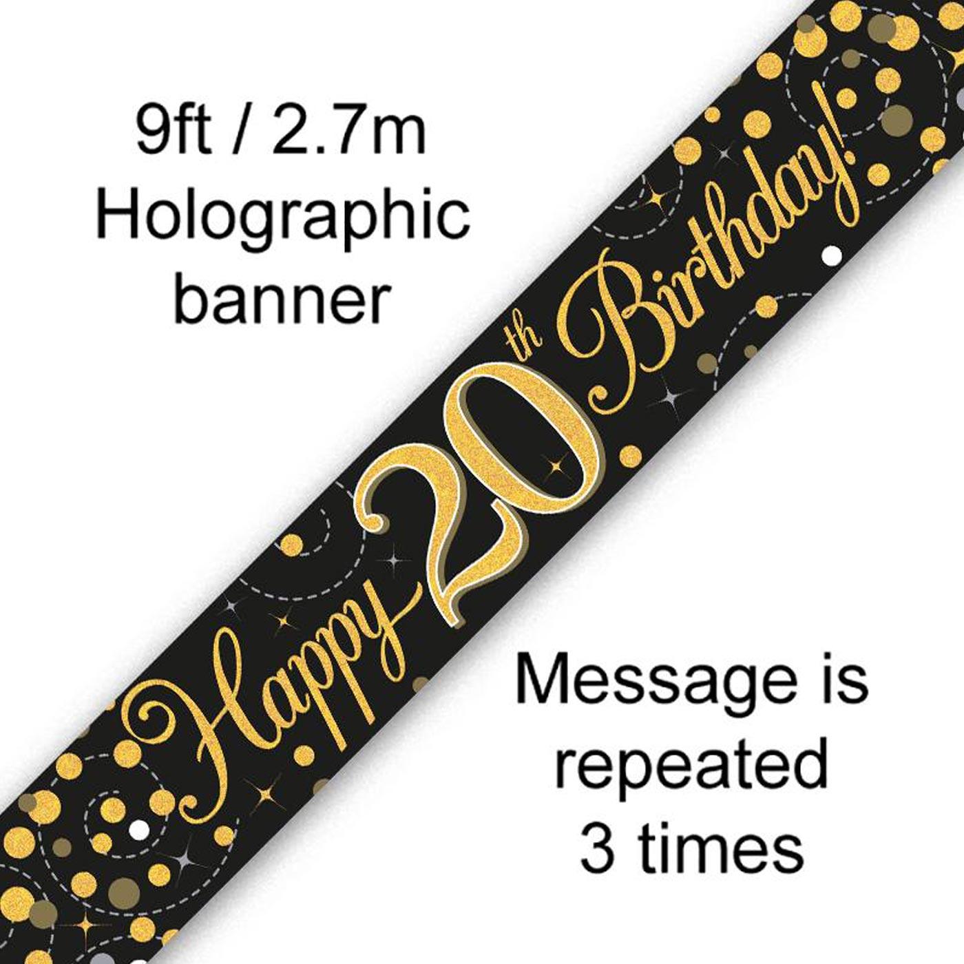 Black Gold Fizz 20th Birthday Banner