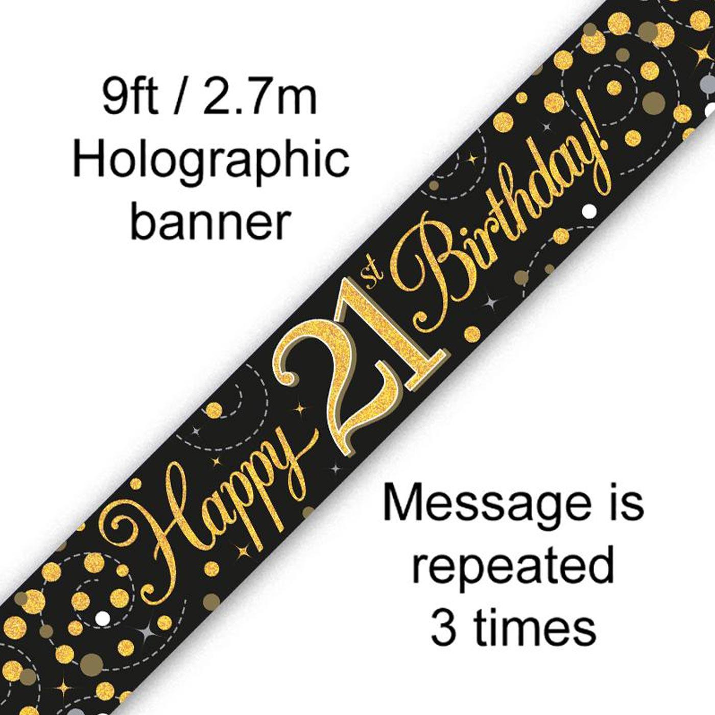 Black Gold Fizz 21st Birthday Banner
