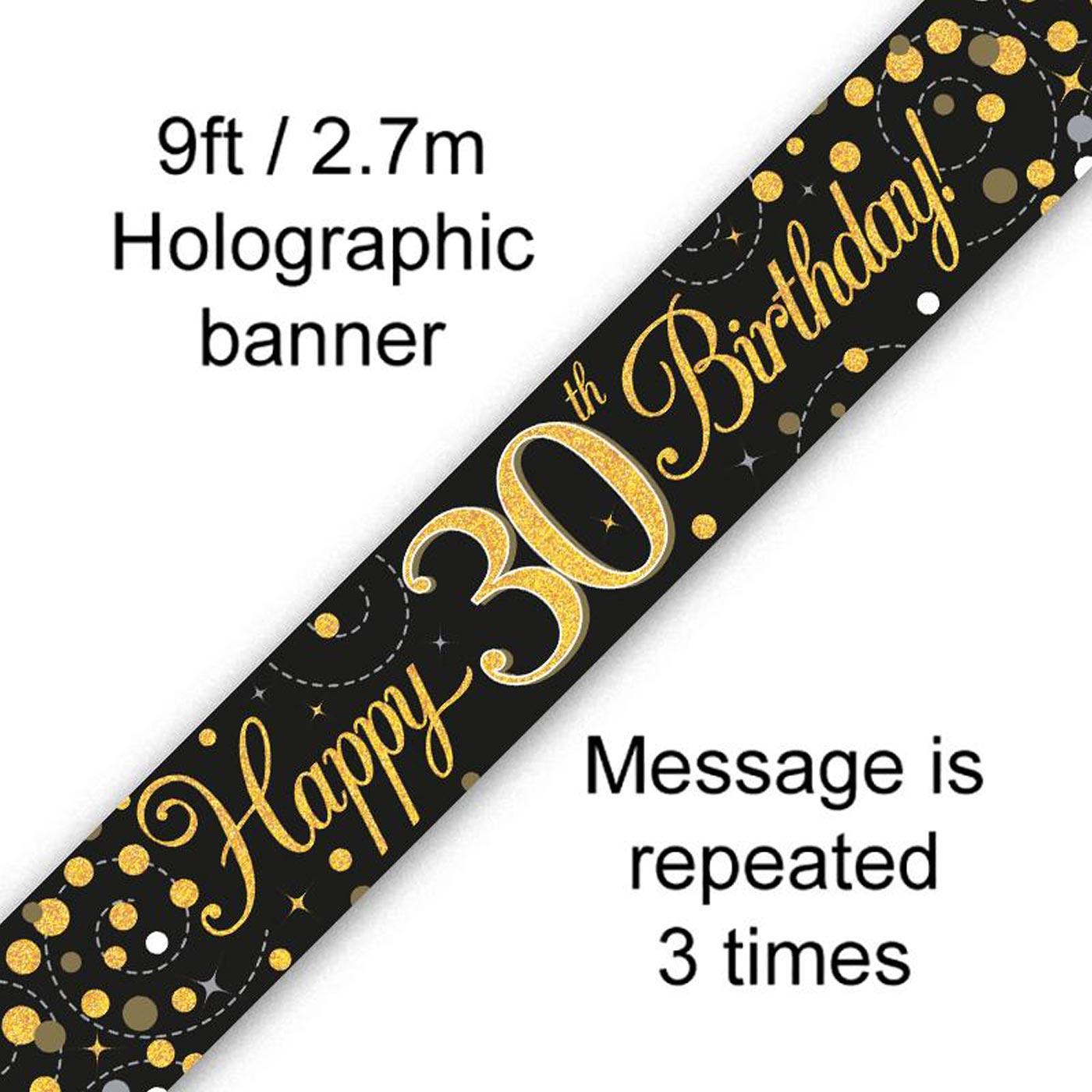 Black Gold Fizz 30th Birthday Banner