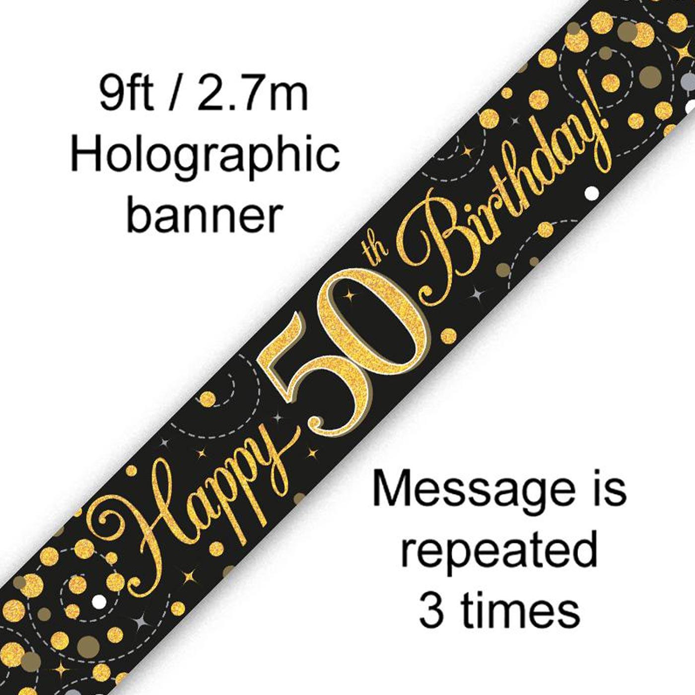 Black Gold Fizz 50th Birthday Banner