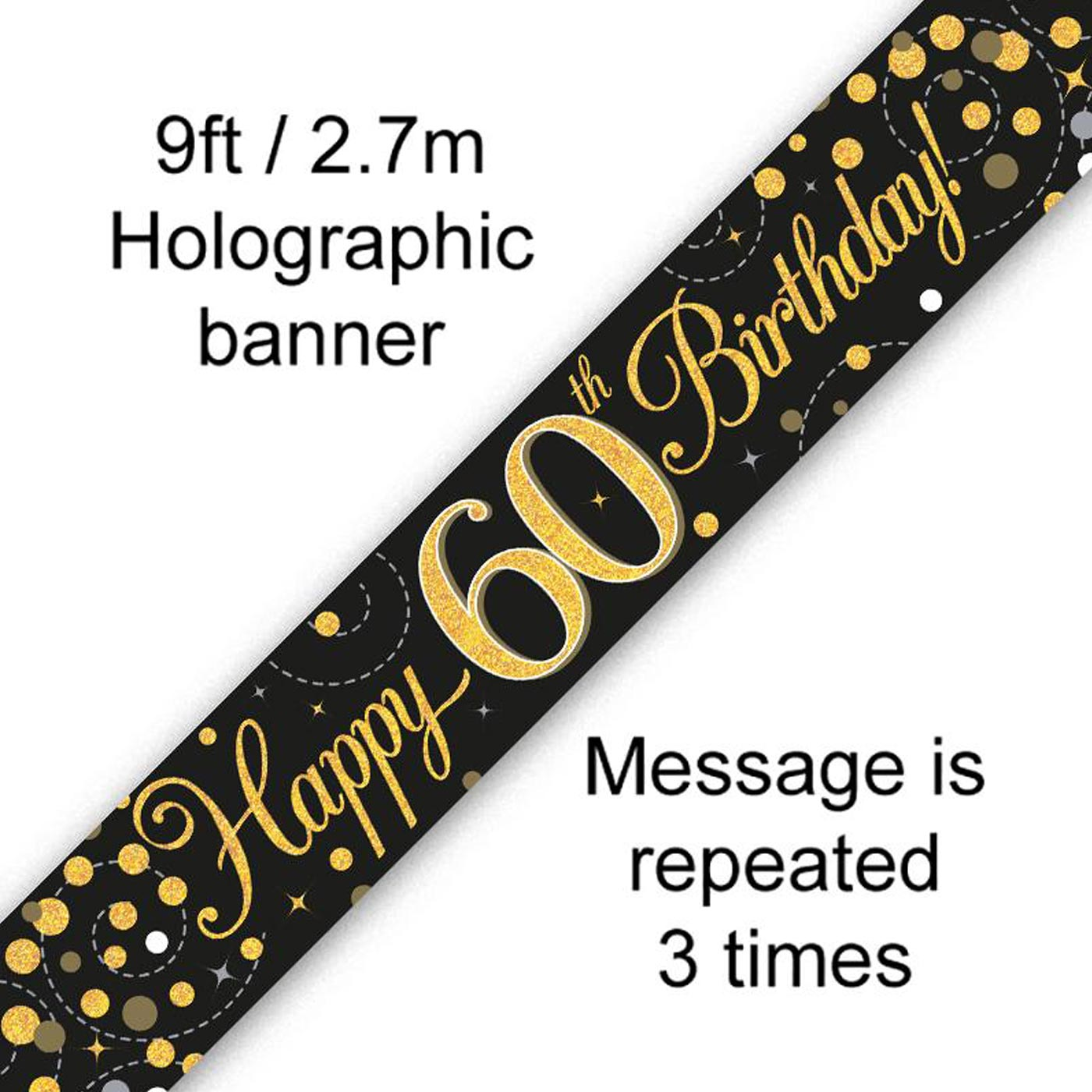 Black Gold Fizz 60th Birthday Banner