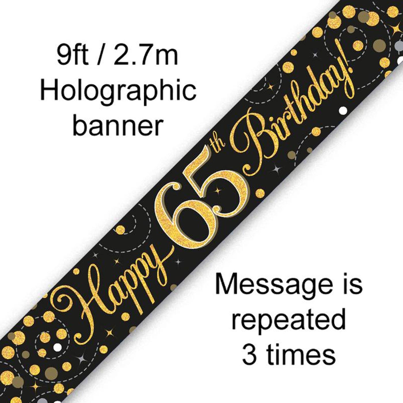 Black Gold Fizz 65th Birthday Banner