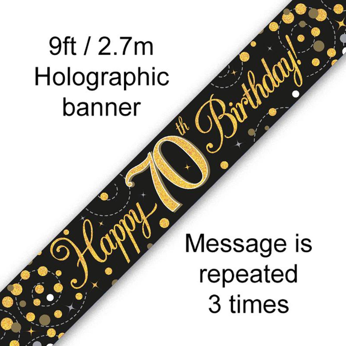 Black Gold Fizz 70th Birthday Banner