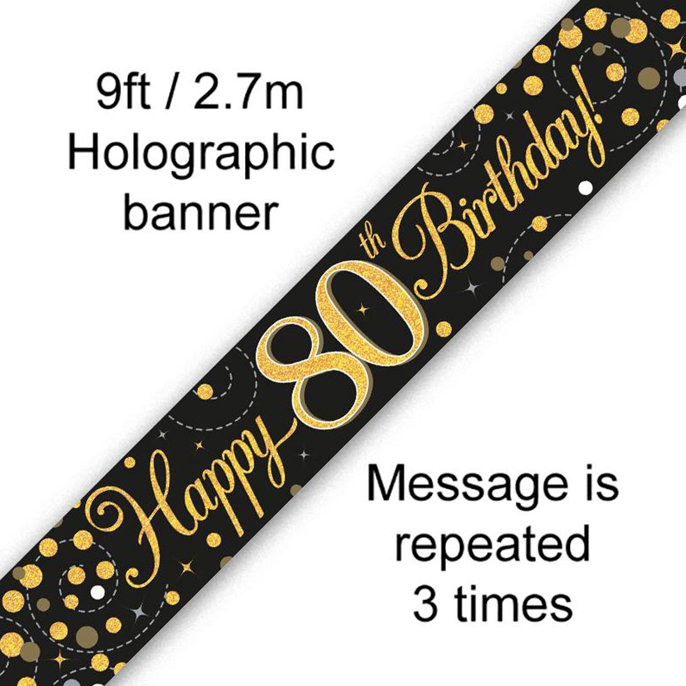 Black Gold Fizz 80th Birthday Banner